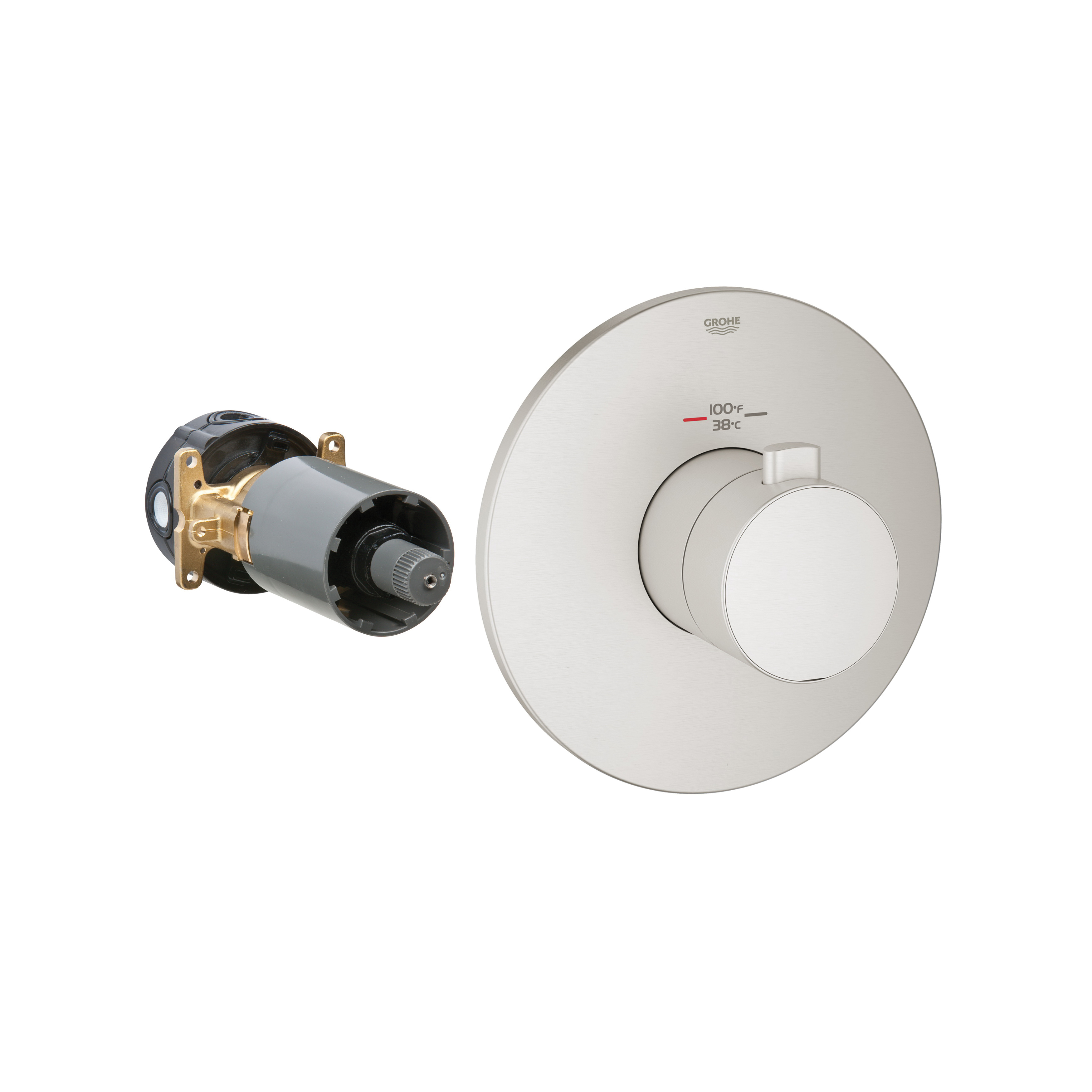 GROHE 19879EN0 Europlus® Custom Shower Thermostatic Trim, 14 gpm Shower, Hand Shower Yes/No: No, Brushed Nickel