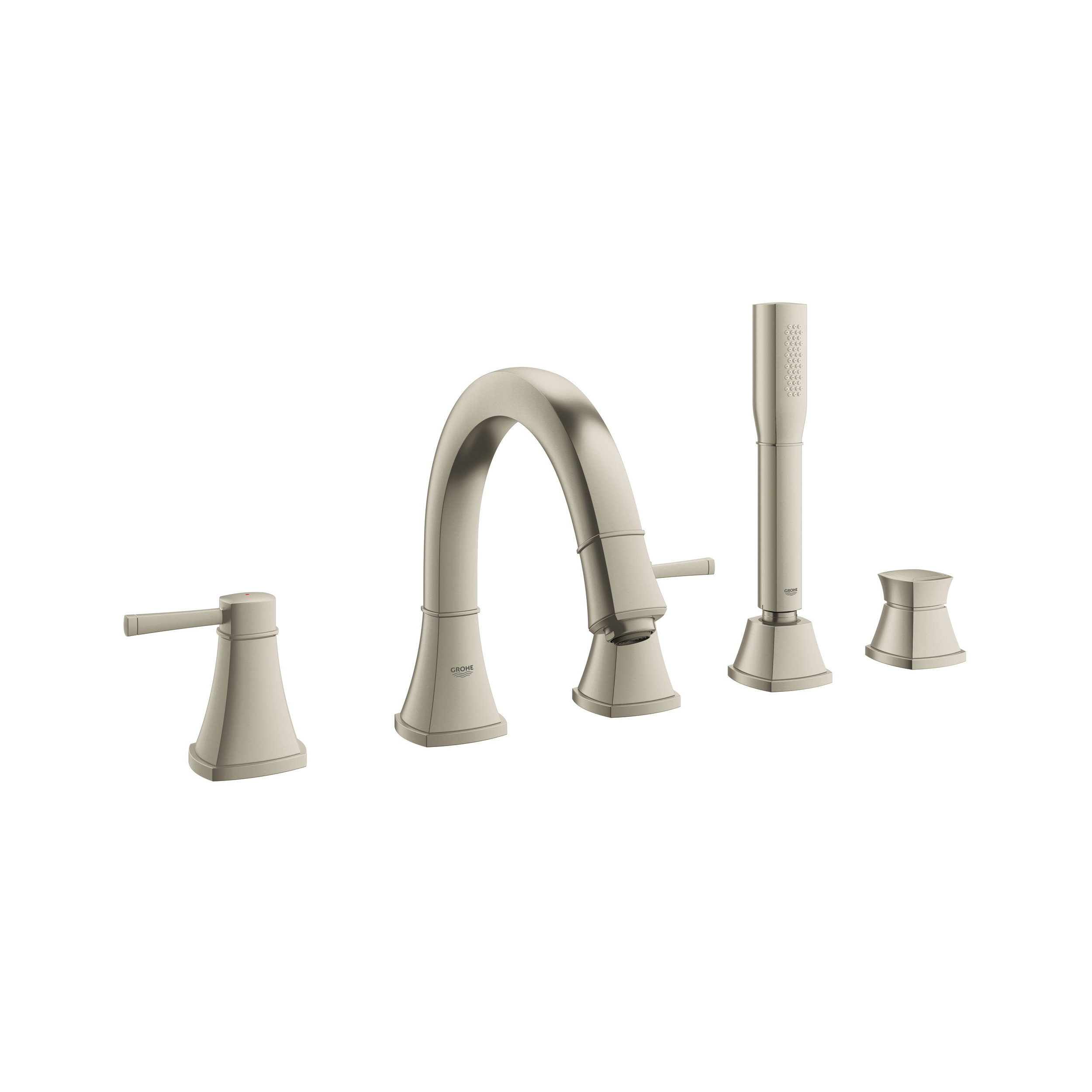 GROHE 19919EN0 Grohflex Grandera™ Roman Tub Filler, 2 gpm, 8 in Center, Brushed Nickel, 2 Handles, Hand Shower Yes/No: Yes, Import