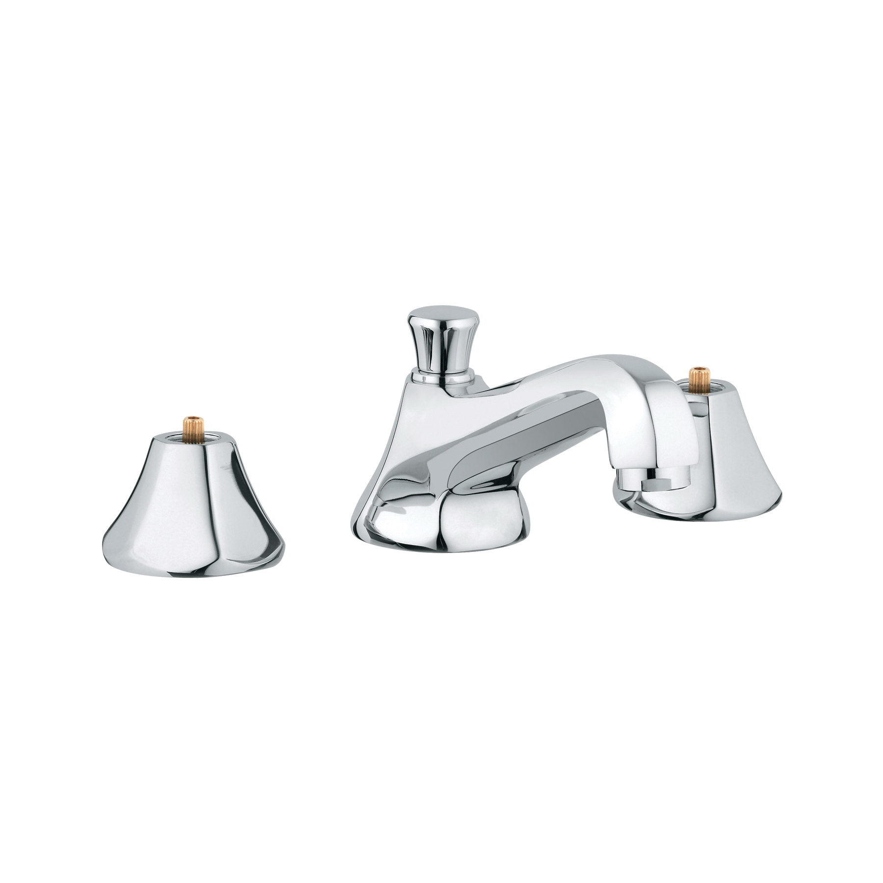 GROHE 2013300A Somerset Widespread Bathroom Basin Mixer Without Handle, 1.2 gpm, 1-11/16 in H Spout, 5-1/2 to 17-3/4 in Center, StarLight® Chrome, 2 Handles, Pop-Up Drain, Import