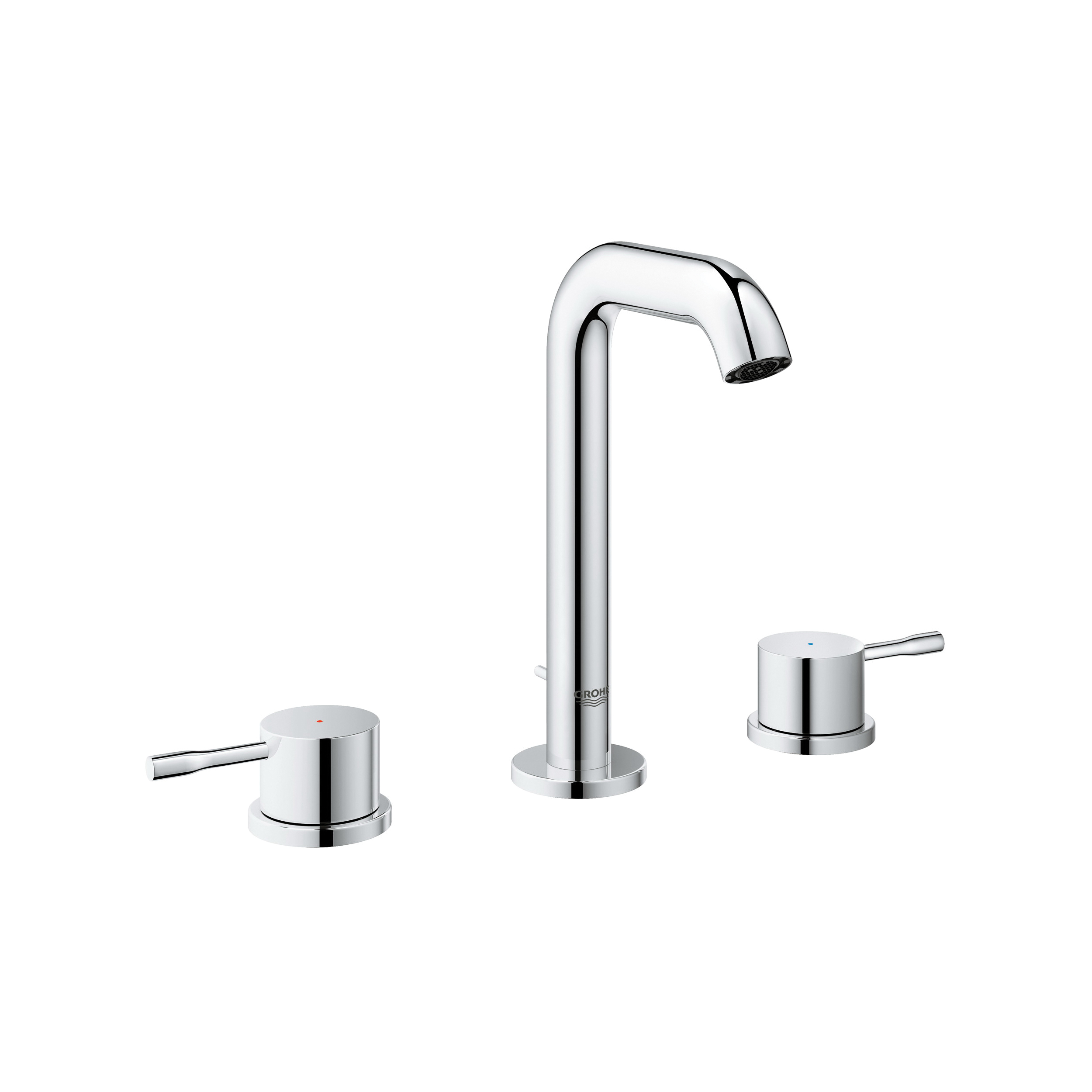 GROHE 2029700A Essence™ New Small Widespread Bathroom Basin Mixer, 1.2 gpm, 5-1/8 in H Spout, 5-1/2 to 22-1/2 in Center, StarLight® Chrome, 2 Handles, Pop-Up Drain, Import