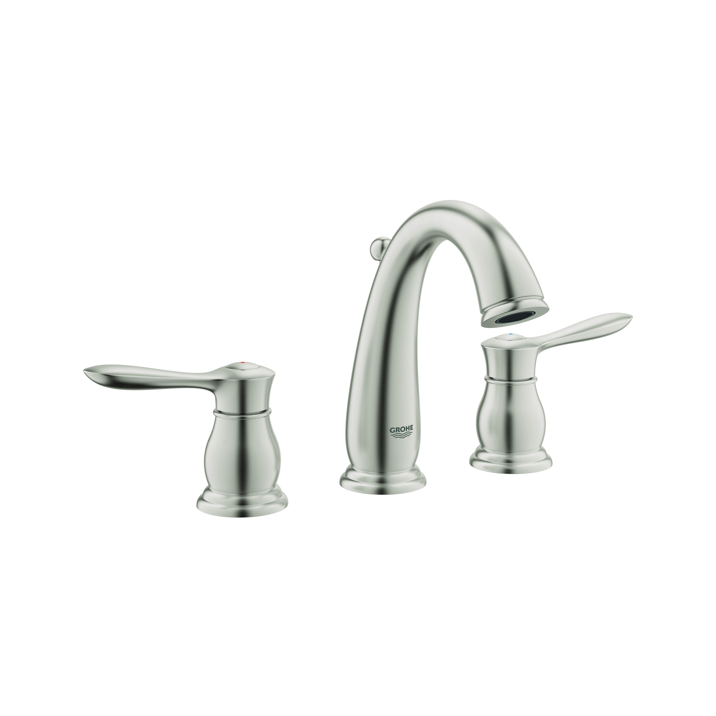 GROHE 20390ENA Parkfield™ Widespread Bathroom Faucet, 1.2 gpm, 4-5/16 in H Spout, 5-1/2 to 17-3/4 in Center, Brushed Nickel, 2 Handles, Pop-Up Drain, Import