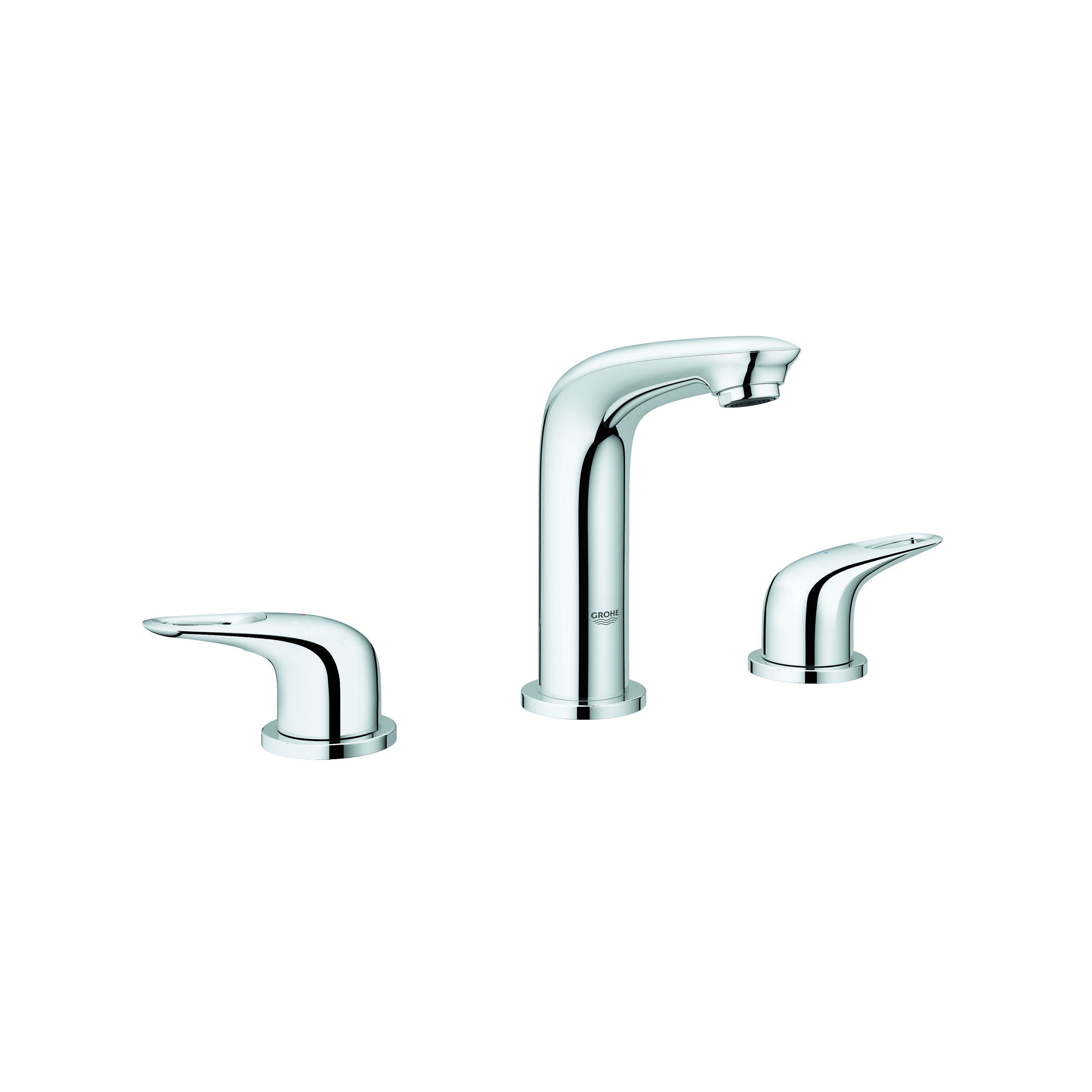 GROHE 20486003 Eurostyle™ Widespread Bathroom Basin Mixer, 1.2 gpm, 6-11/16 in H Spout, 8 in Center, StarLight® Chrome, 2 Handles, Pop-Up Drain, Import