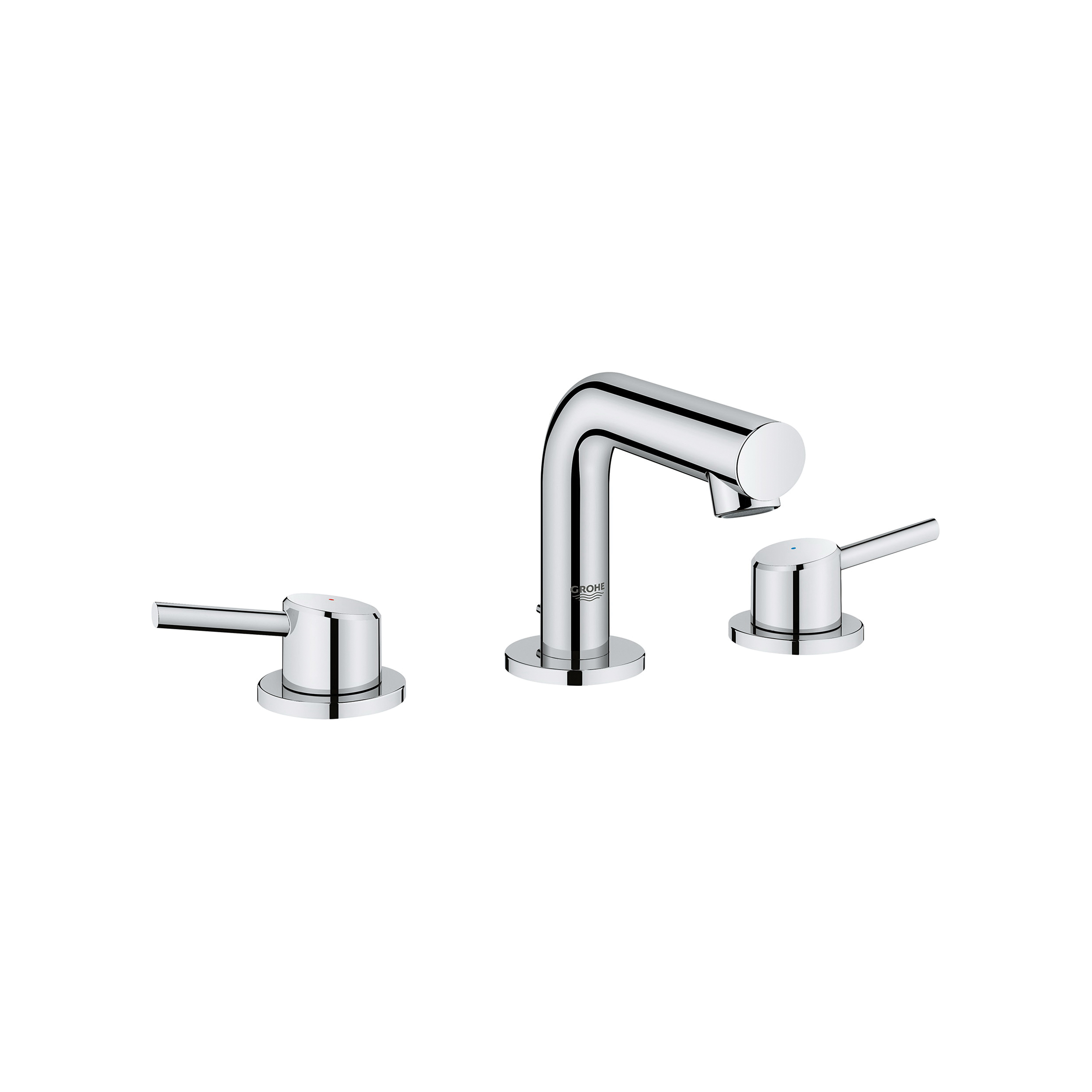 GROHE 20572001 Concetto Widespread Bathroom Faucet, 2.2 gpm, 3-3/8 in H Spout, 8 in Center, StarLight® Chrome, 2 Handles, Pop-Up Drain, Import