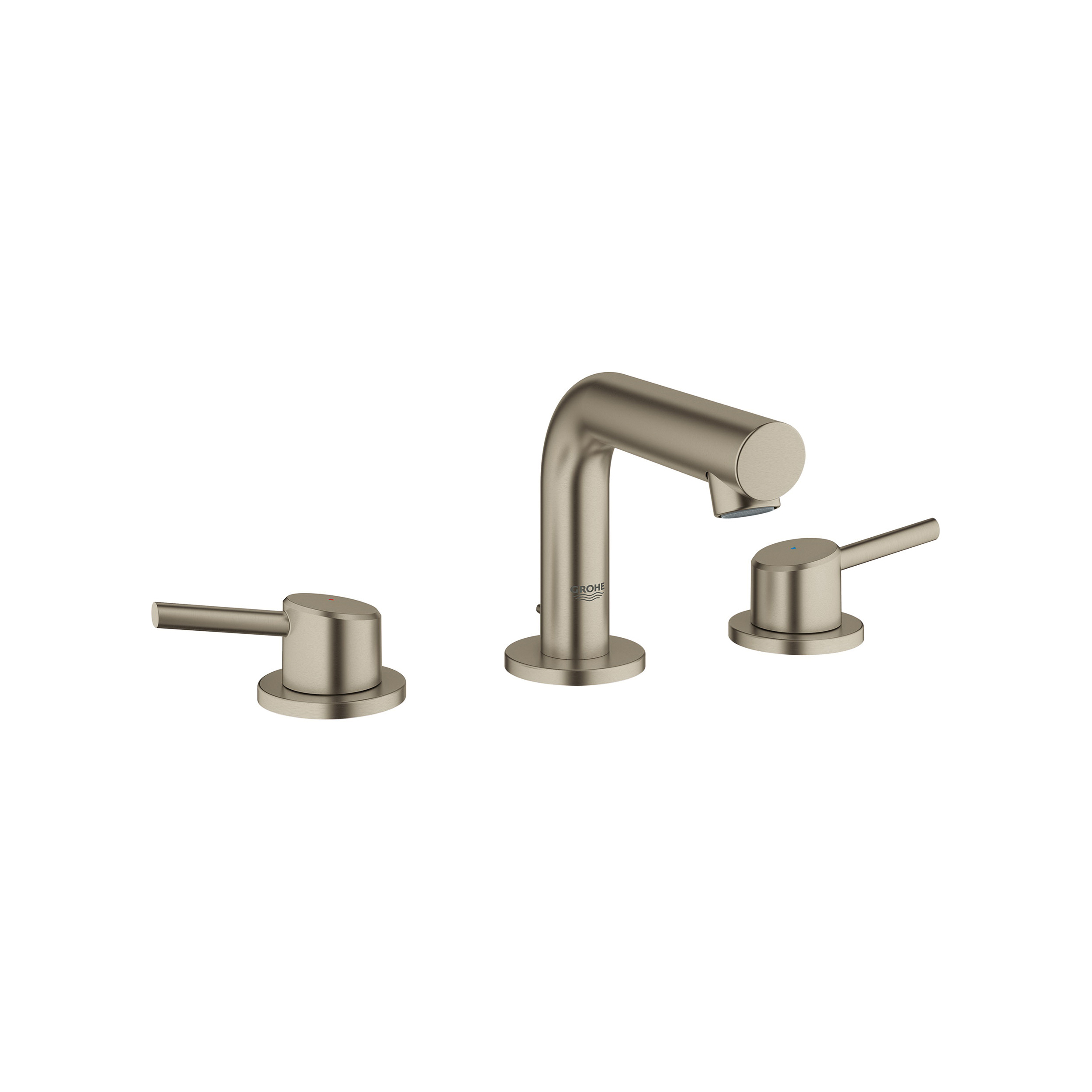 GROHE 20572EN1 Concetto Widespread Bathroom Faucet, 2.2 gpm, 3-3/8 in H Spout, 8 in Center, Brushed Nickel, 2 Handles, Pop-Up Drain, Import
