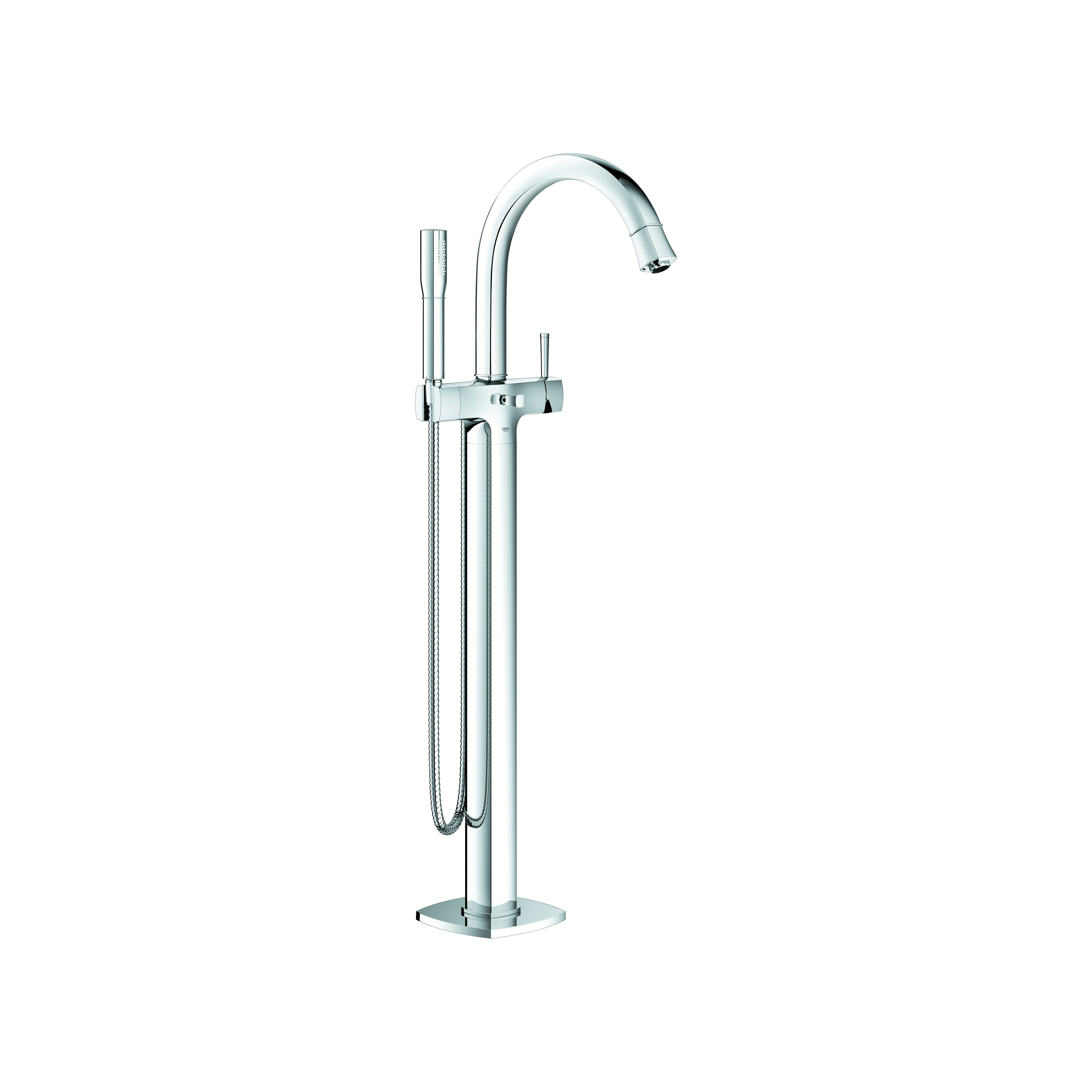GROHE 23318000 Grandera™ Tub Filler, 2 gpm, StarLight® Chrome Plated, 1 Handles, Hand Shower Yes/No: Yes, Import