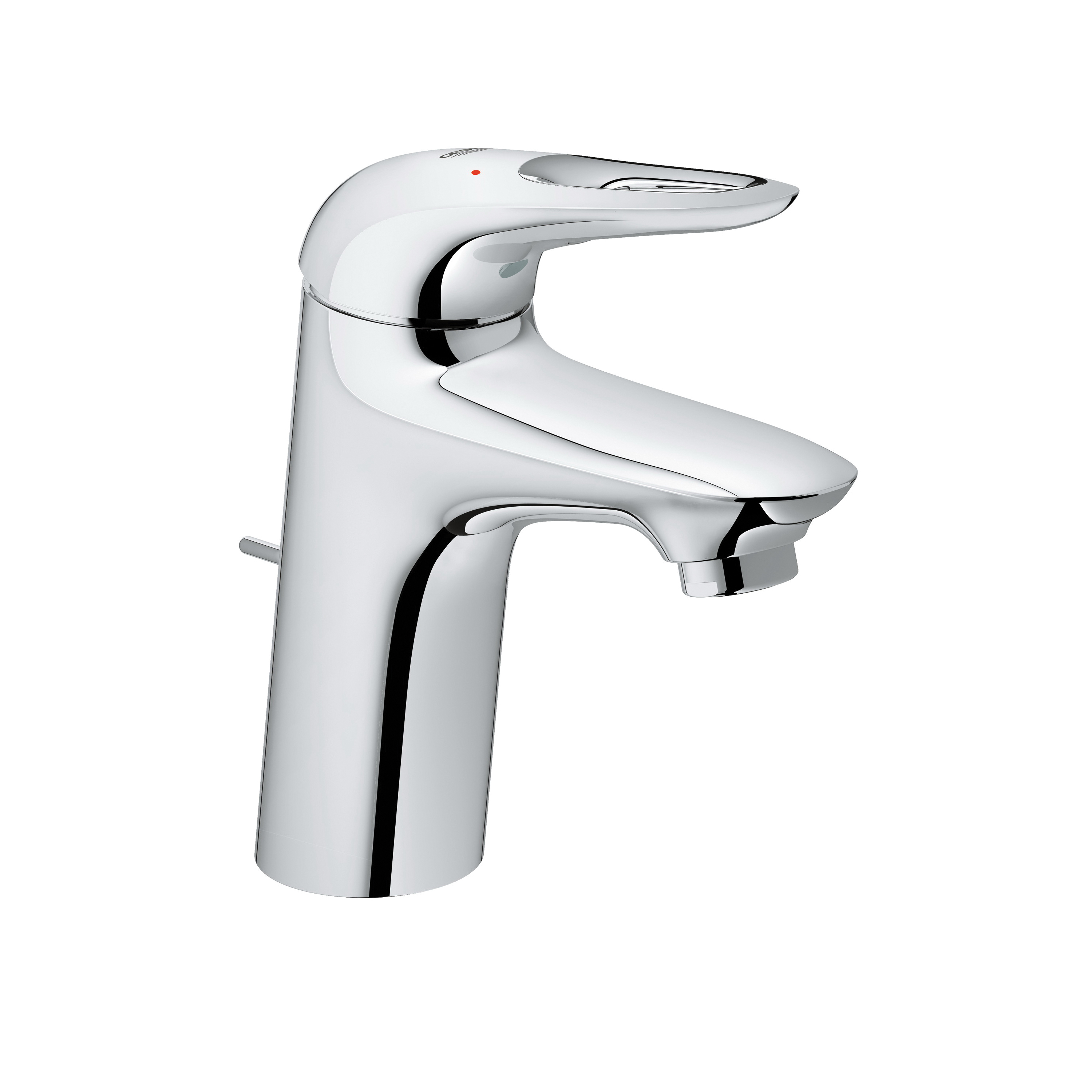GROHE 23577003 Eurostyle Lavatory Faucet With Temperature Limiter, 1.2 gpm, 8-1/4 in H Spout, 1 Handle, Pop-Up Drain, 1 Faucet Hole, StarLight® Chrome, Import
