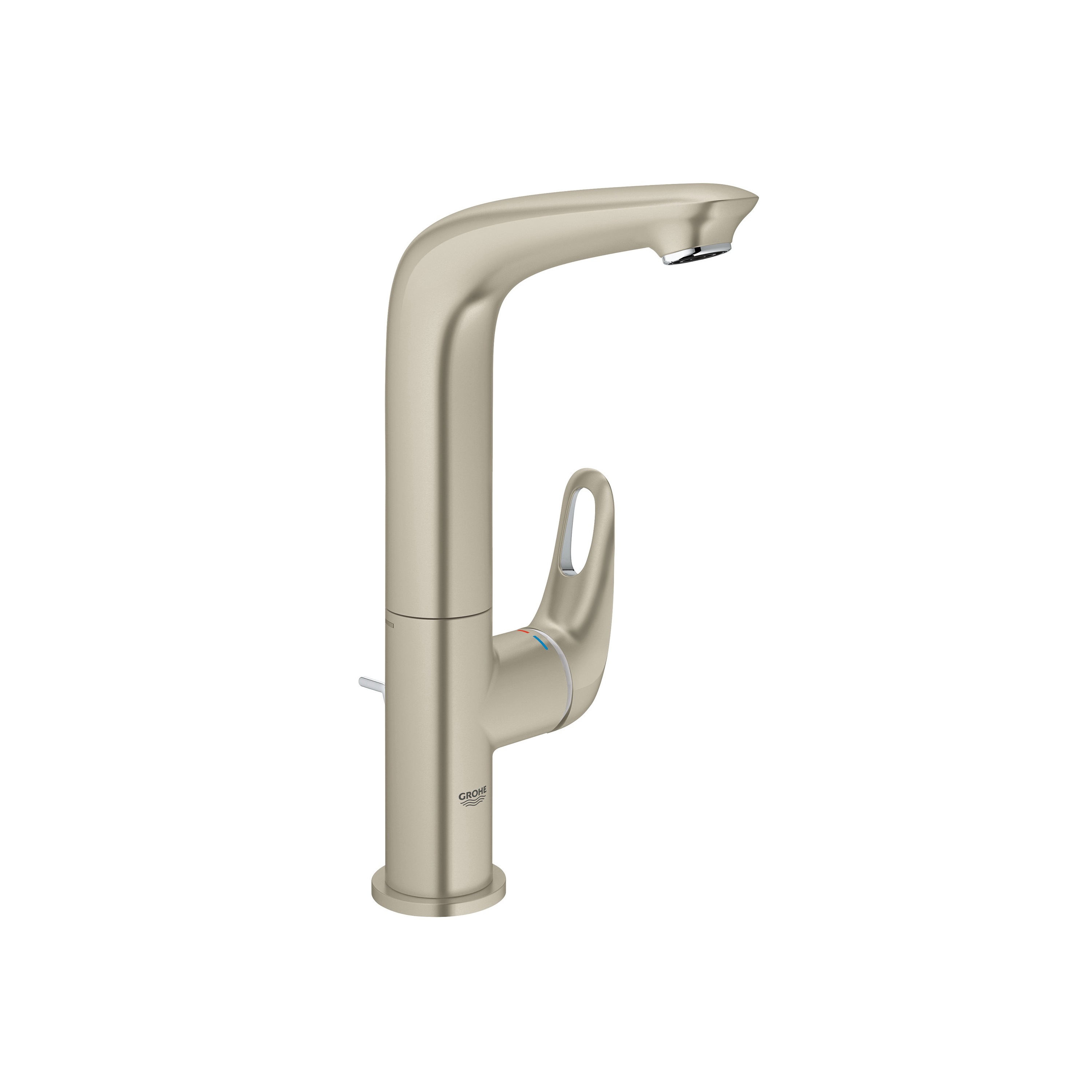GROHE 23579EN3 Eurostyle™ Bathroom Basin Mixer With Temperature Limiter, 1.2 gpm, 9-5/8 in H Spout, 1 Handle, Pop-Up Drain, 1 Faucet Hole, Brushed Nickel, Import