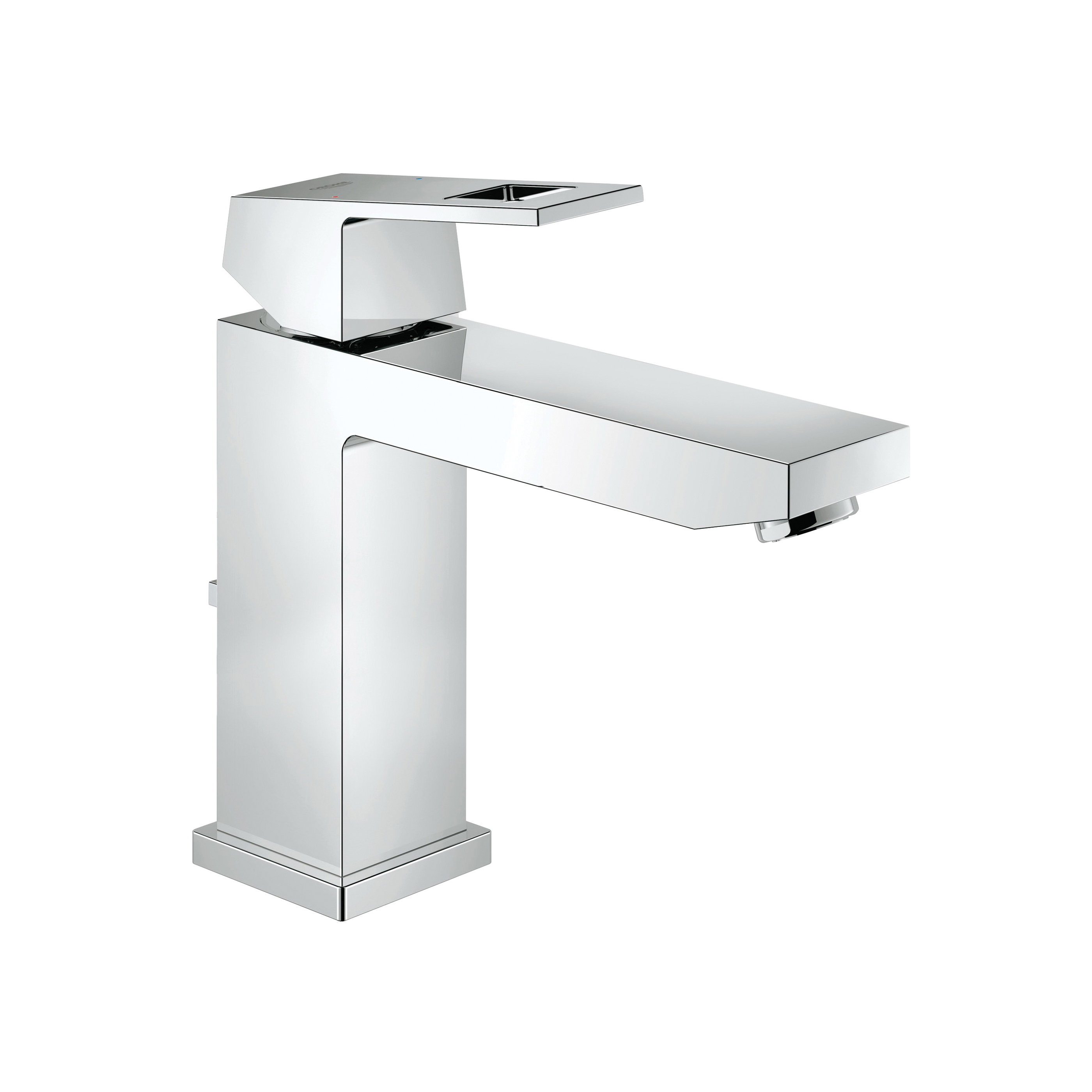 GROHE 23670000 Eurocube® Centerset Lavatory Faucet With Temperature Limiter, 1.5 gpm, 4.313 in H Spout, 1 Handle, Pop-Up Drain, 1 Faucet Hole, StarLight® Chrome, Import