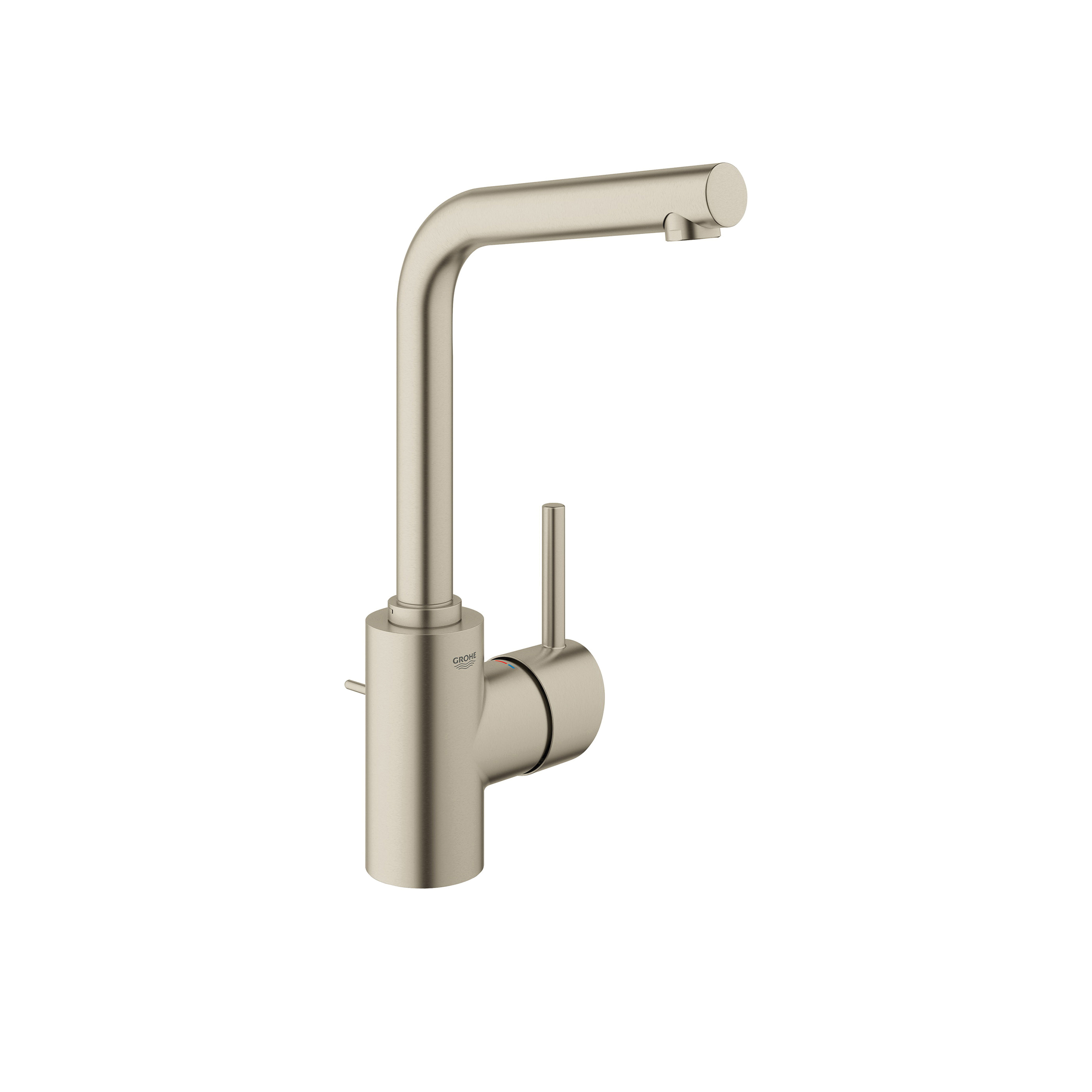 GROHE 23737EN1 Concetto Bathroom Faucet, 2.2 gpm, 10-3/8 in H Spout, 1 Handle, Pop-Up Drain, 1 Faucet Hole, Brushed Nickel, Import