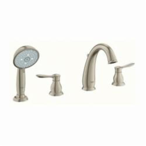 GROHE 25153EN0 Parkfield™ Roman Bathtub Faucet, 13.2 gpm, 8 in Center, Brushed Nickel, 2 Handles, Hand Shower Yes/No: Yes, Import