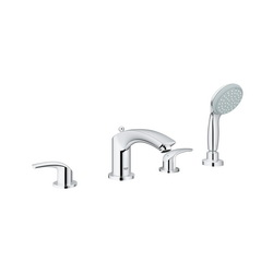 GROHE 25170002 Eurosmart® Roman Bathtub Faucet, 2 gpm, StarLight® Chrome Plated, 2 Handles, Hand Shower Yes/No: Yes, Import