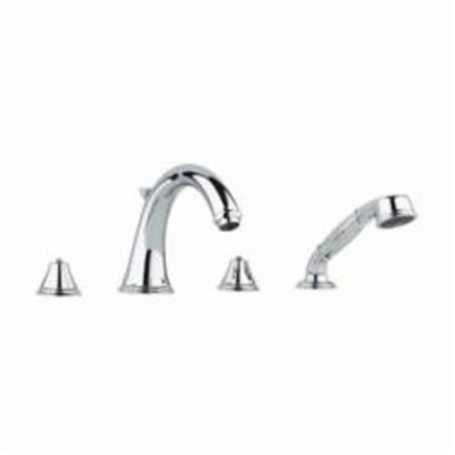 GROHE 25506000 Geneva™ Roman Bathtub Faucet, 13.2 gpm, StarLight® Chrome Plated, Hand Shower Yes/No: Yes, Import