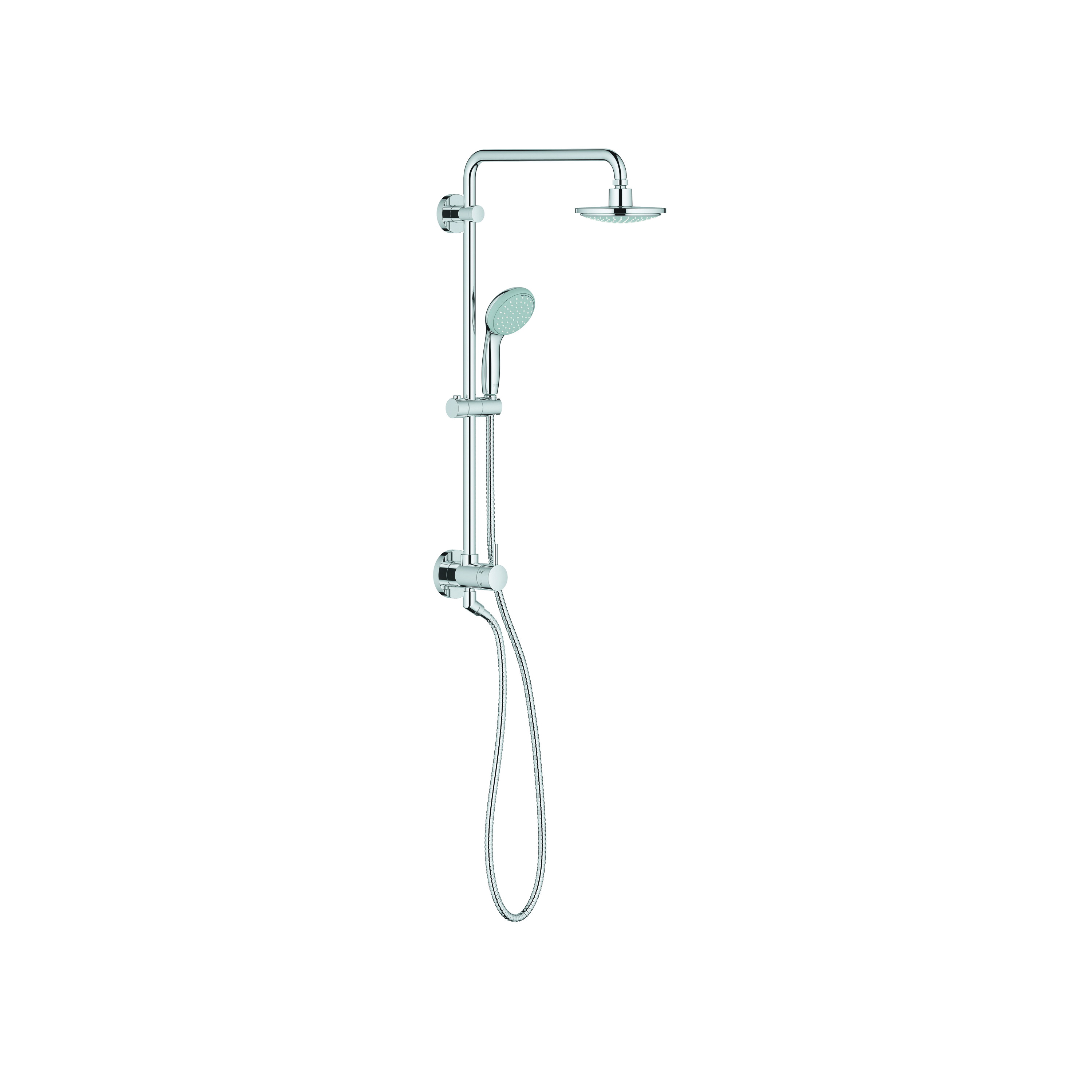 GROHE 26123000 Retro-fit 160 Shower System, 6-5/16 in Dia Head, 2 Shower Head, 2 gpm, 1/2 in FNPT, Slide Bar: No, Chrome Plated, Import
