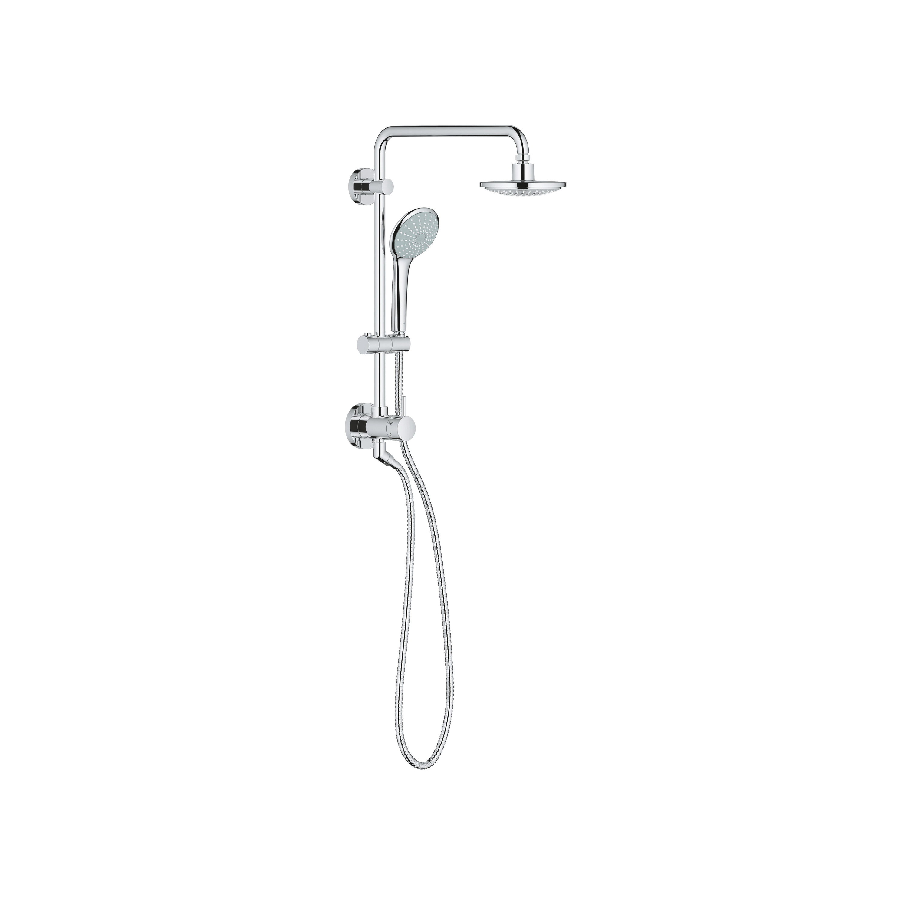 GROHE 26192000 Retro-Fit Shower System, 6-5/16 in Dia Head, 1 Shower Head, 2.5 gpm, 1/2 in NPT-FIP, Slide Bar: No, StarLight® Chrome, Import