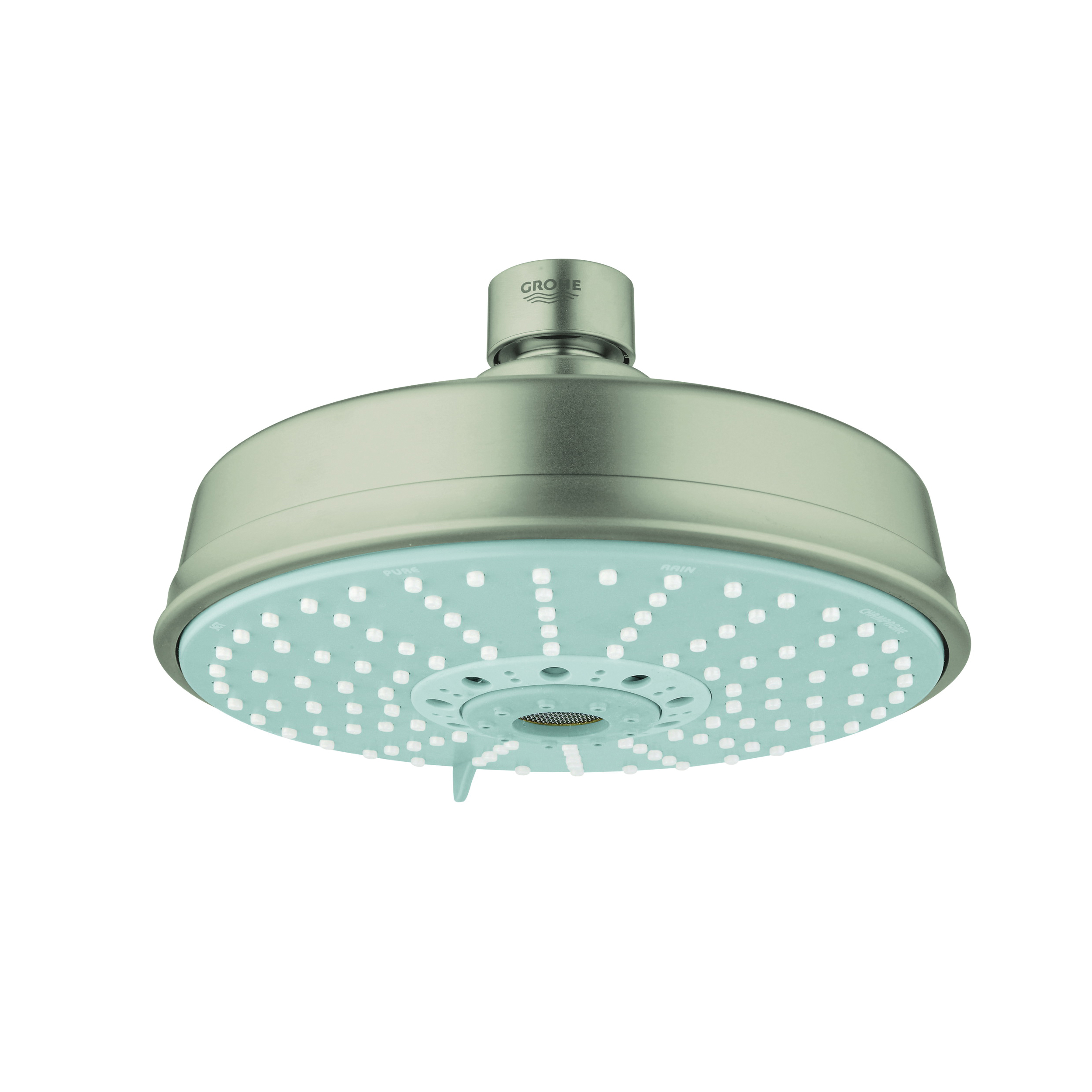 GROHE 27130EN0 Rainshower® Rustic 160 Shower Head, 2.5 gpm, 4 Sprays, Ceiling Mount, 6-5/16 in Dia Head, Import