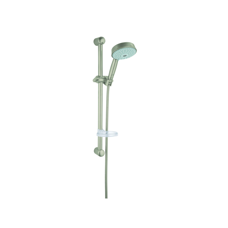 GROHE 27140EN0 Rainshower® Rustic 130 Shower Set, (1) Shower Head, 2.5 gpm, 69 in L Hose, G-1/2, Slide Bar: Yes, Brushed Nickel, Import