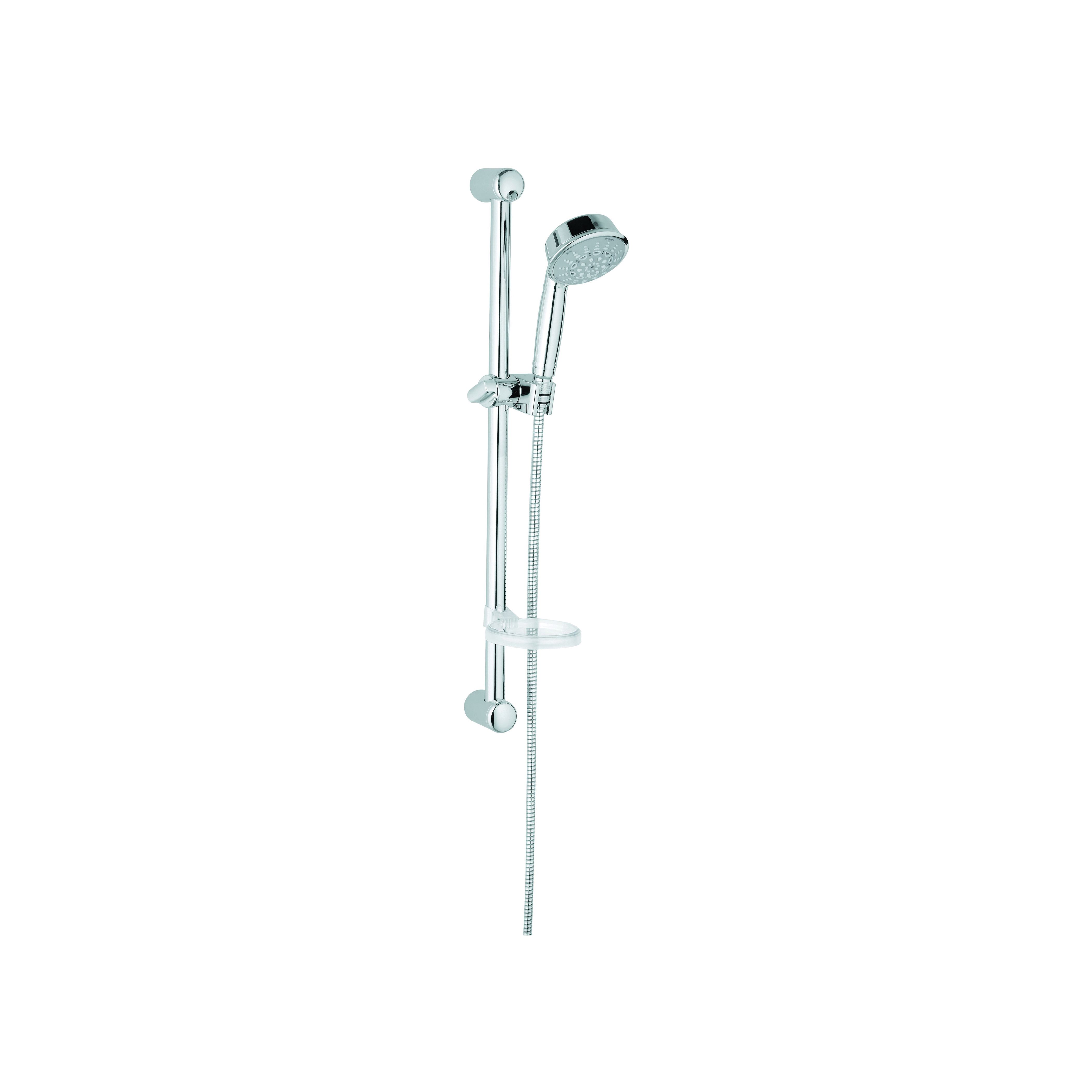 GROHE 27142000 Relexa Rustic 100 Shower Set, (1) Shower Head, 2.5 gpm, 69 in L Hose, G-1/2, Slide Bar: Yes, Chrome Plated, Import