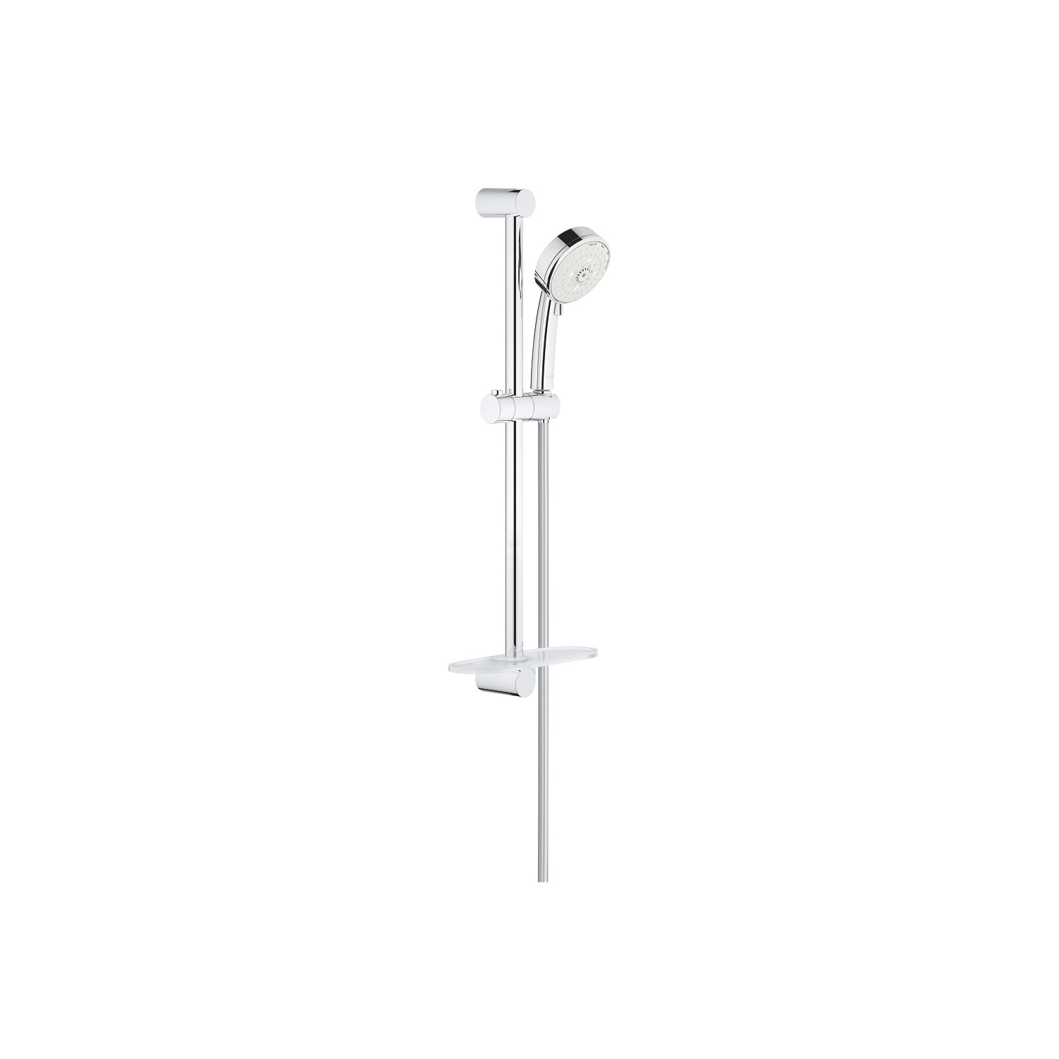 GROHE 27577002 New Tempesta Cosmopolitan 100 IV Shower Rail Set, 3-15/16 in Dia Head, Rain O2/Rain/Massage/Jet Pattern, 2.5 gpm, 69 in L Hose, StarLight® Chrome Plated, With Slide Bar: Yes, Import