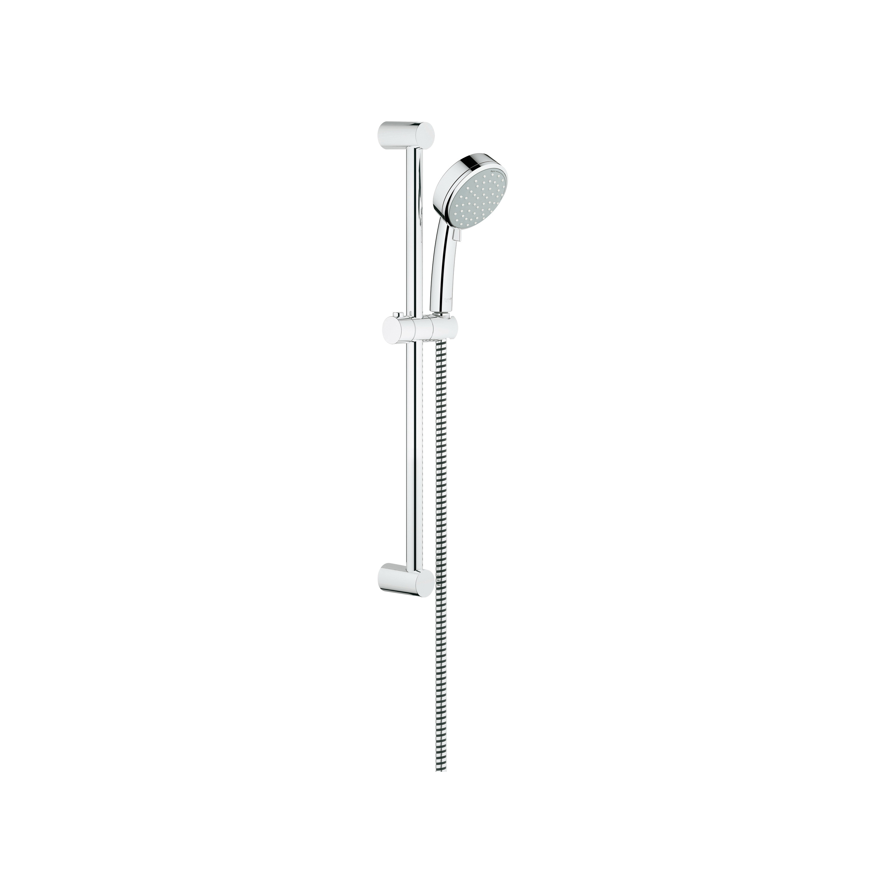 GROHE 2757810E New Tempesta® Cosmopolitan 100 Shower Set, (2) 4 in Dia Shower Head, 1.5 gpm, 69 in L Hose, Slide Bar: Yes, StarLight® Chrome, Import