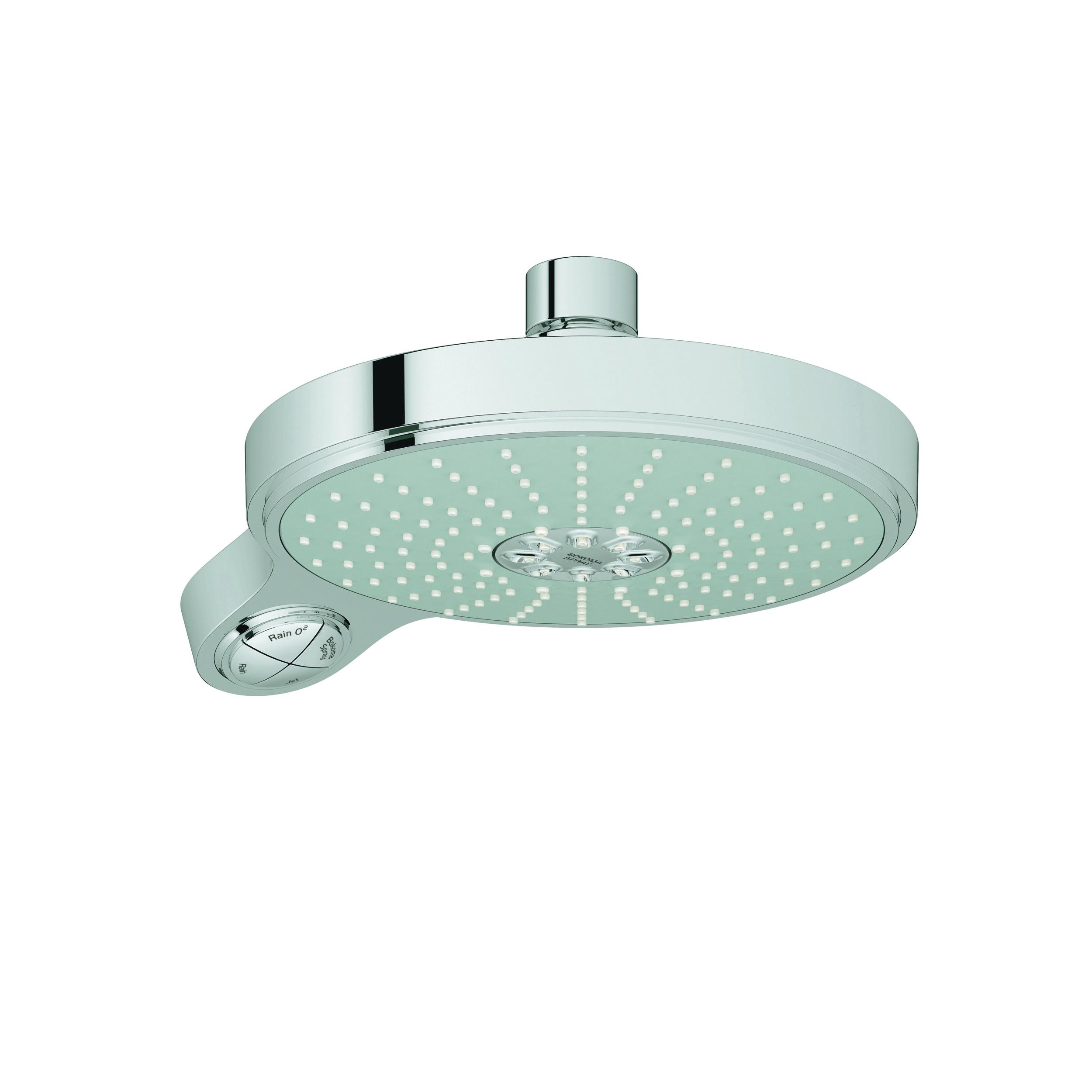 GROHE 27765000 Power&Soul® Cosmopolitan 190 Shower Head, 2.5 gpm, 4 Sprays, Wall Mount, 7-1/2 in Dia Head, Import