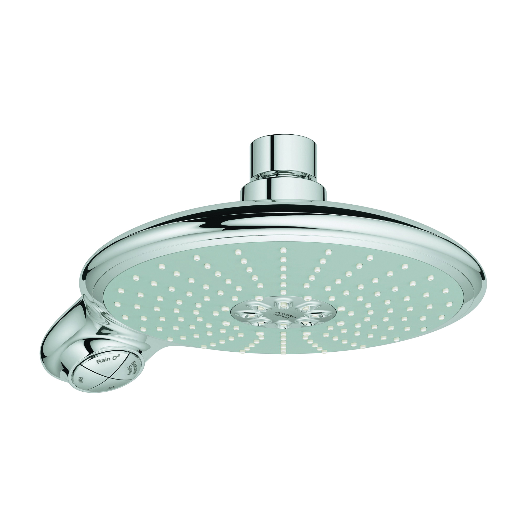 GROHE 27767000 Power&Soul® 190 Shower Head, 2.5 gpm, 2 Sprays, Wall Mount, 7-1/2 in Dia Head, Import