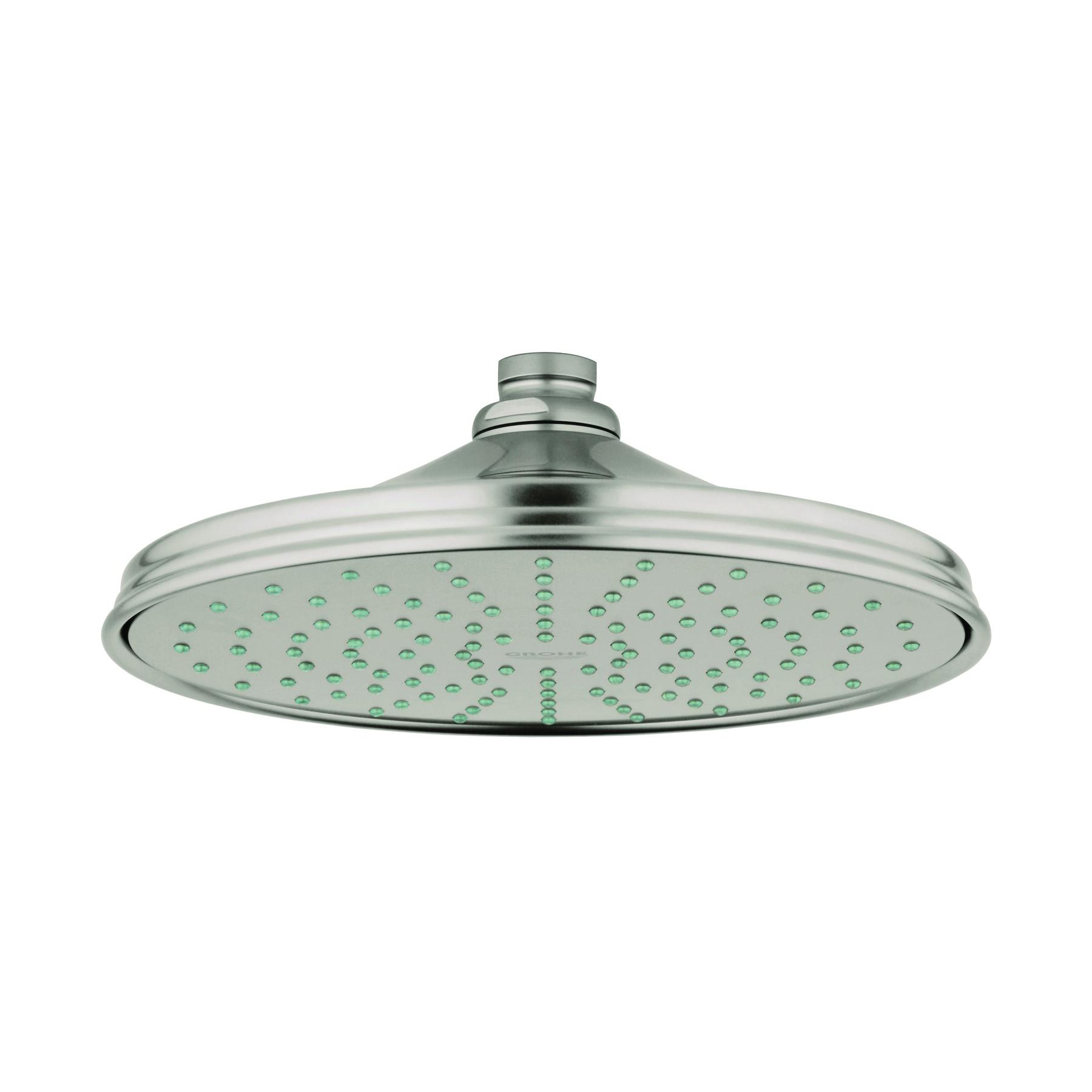GROHE 28375EN0 Rainshower® Rustic 210 Shower Head, 2.5 gpm, 1 Spray, Ceiling Mount, 8-3/8 in Dia Head, Import