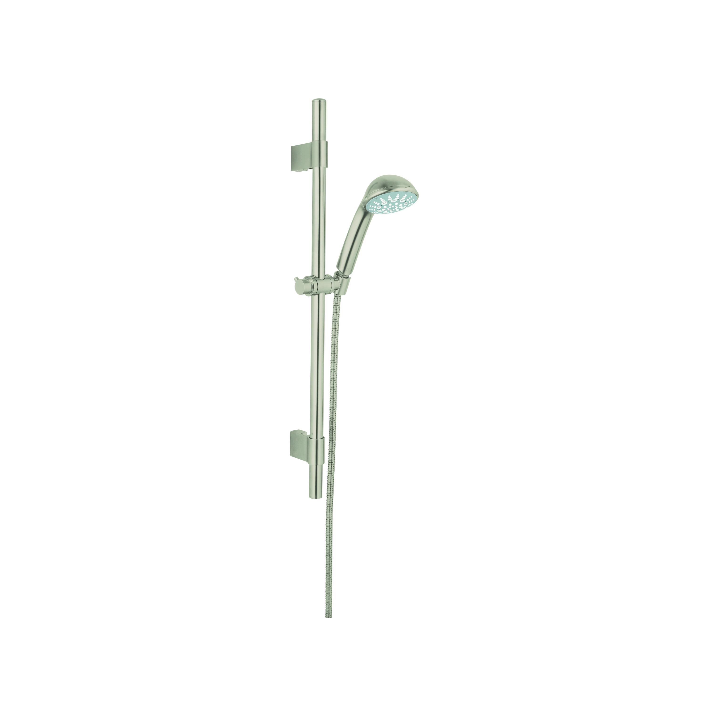 GROHE 28917EN0 Relexa 100 Five Shower Set, 2.5 gpm, 69 in L Hose, G-1/2, Slide Bar: Yes, Brushed Nickel, Import