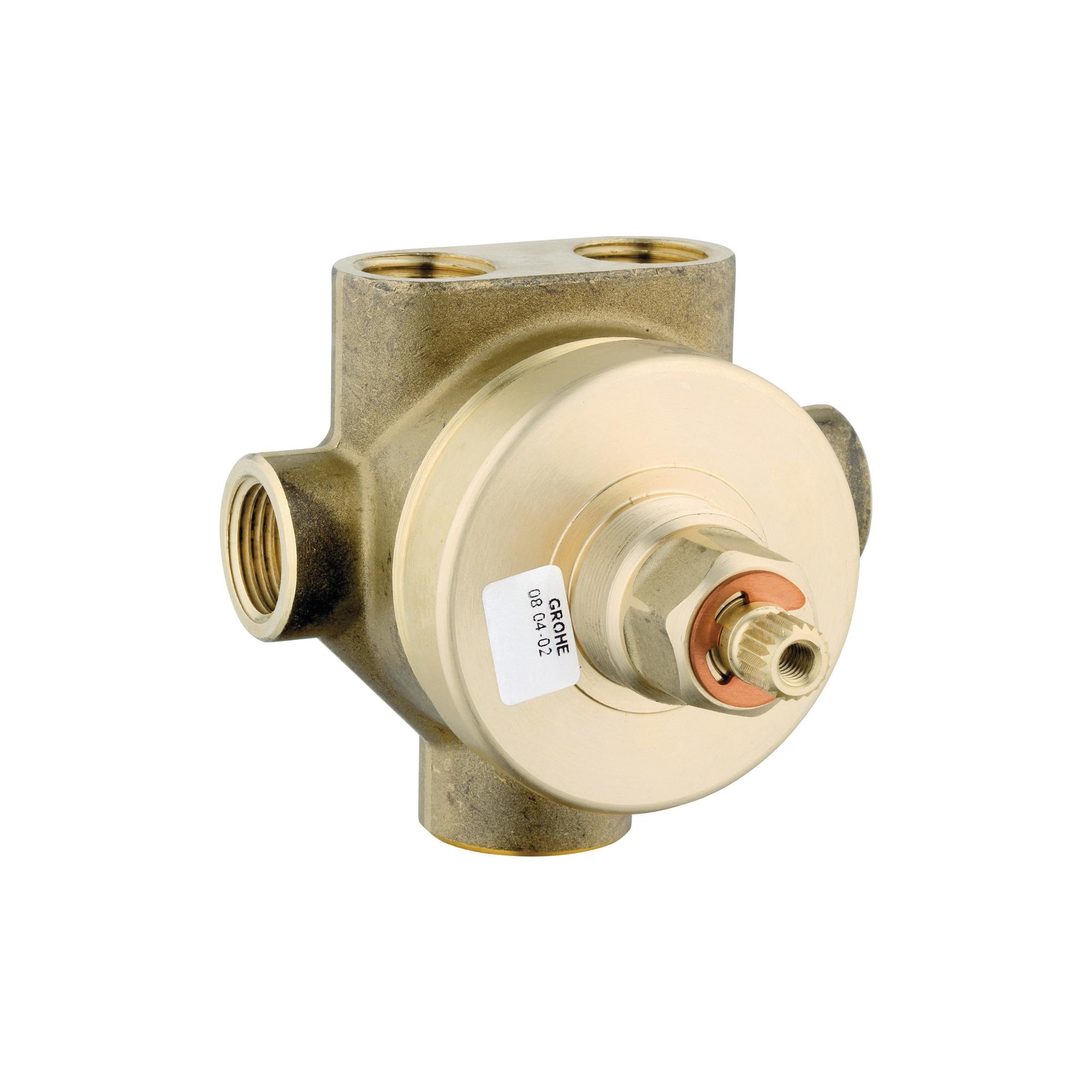 GROHE 29035000 5-Port Diverter Rough-In Valve, 1/2 in FNPT Inlet x 1/2 in FNPT Outlet, 3 Ways, Brass Body, Import