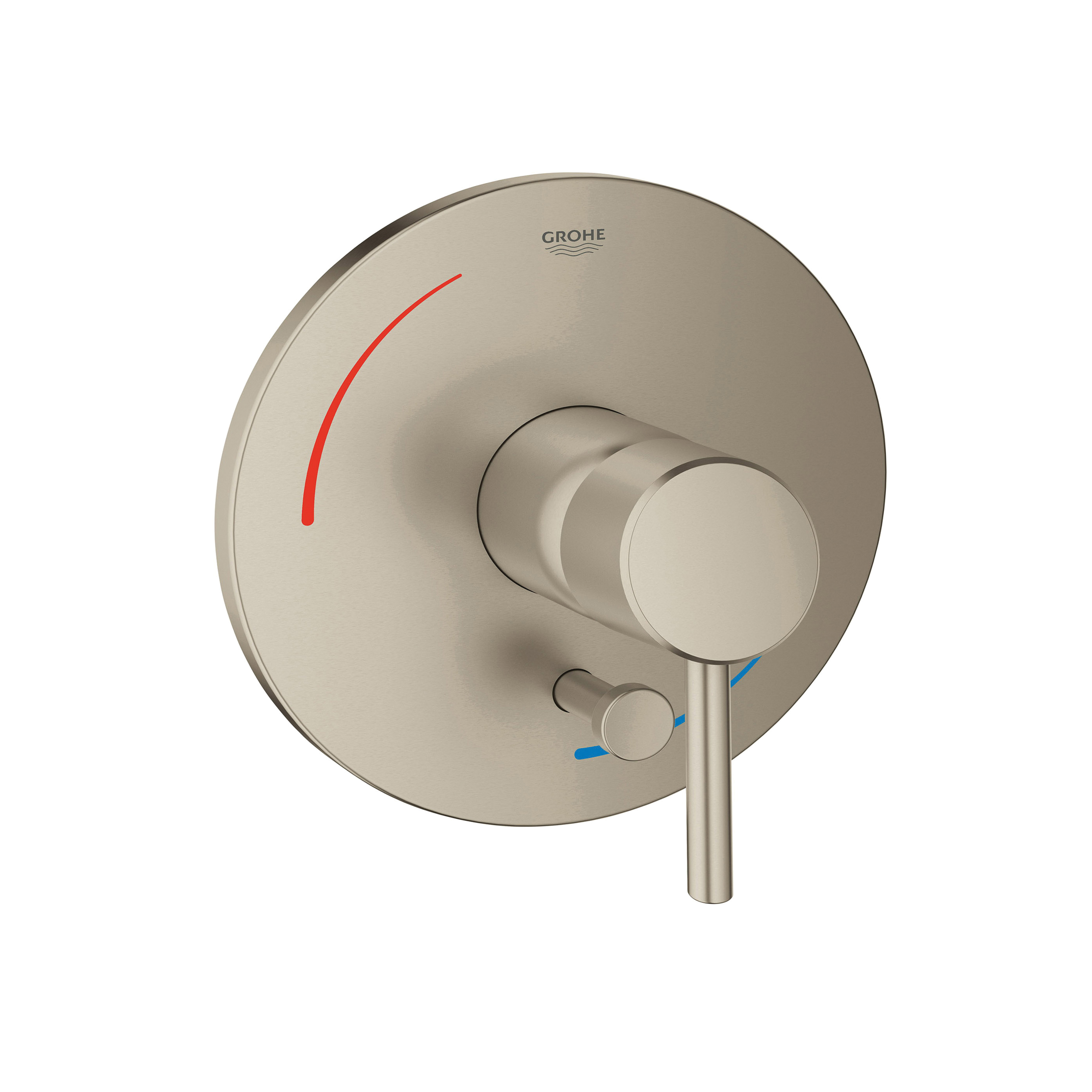 GROHE 29102EN1 Concetto Pressure Balance Valve Trim With Diverter, For Use With GrohSafe® 35016/35033 Rough-In Valve with Built in Diverter, StarLight® Brushed Nickel, Import