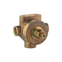 GROHE 29714000 5-Port Diverter Rough-In Valve, 1/2 in MNPT Inlet x 1/2 in MNPT Outlet, 3 Ways, 45 psi, 18.5 gpm, Brass Body, Import