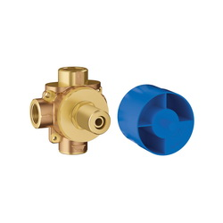 GROHE 29903000 Concetto Diverter Rough-In Valve With 1/2 in NPT Plasterguard, 1/2 in FNPT Inlet x 1/2 in FNPT Outlet, 3 Ways, Brass Body, Import
