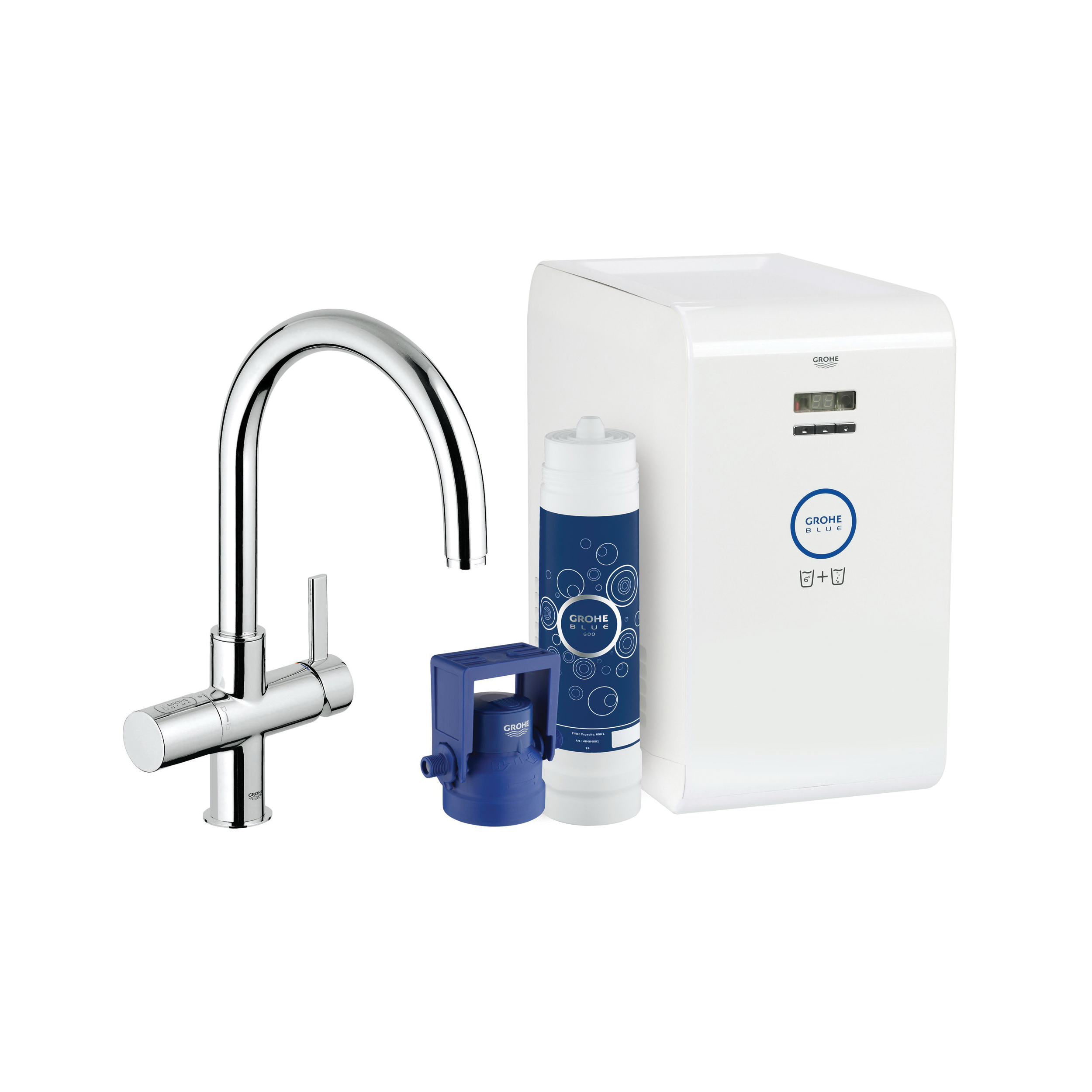 GROHE 31251001 GROHE Blue Sparkling Faucet and Water System, 1.75 gpm, 1 Handle, StarLight® Chrome, Import, Residential