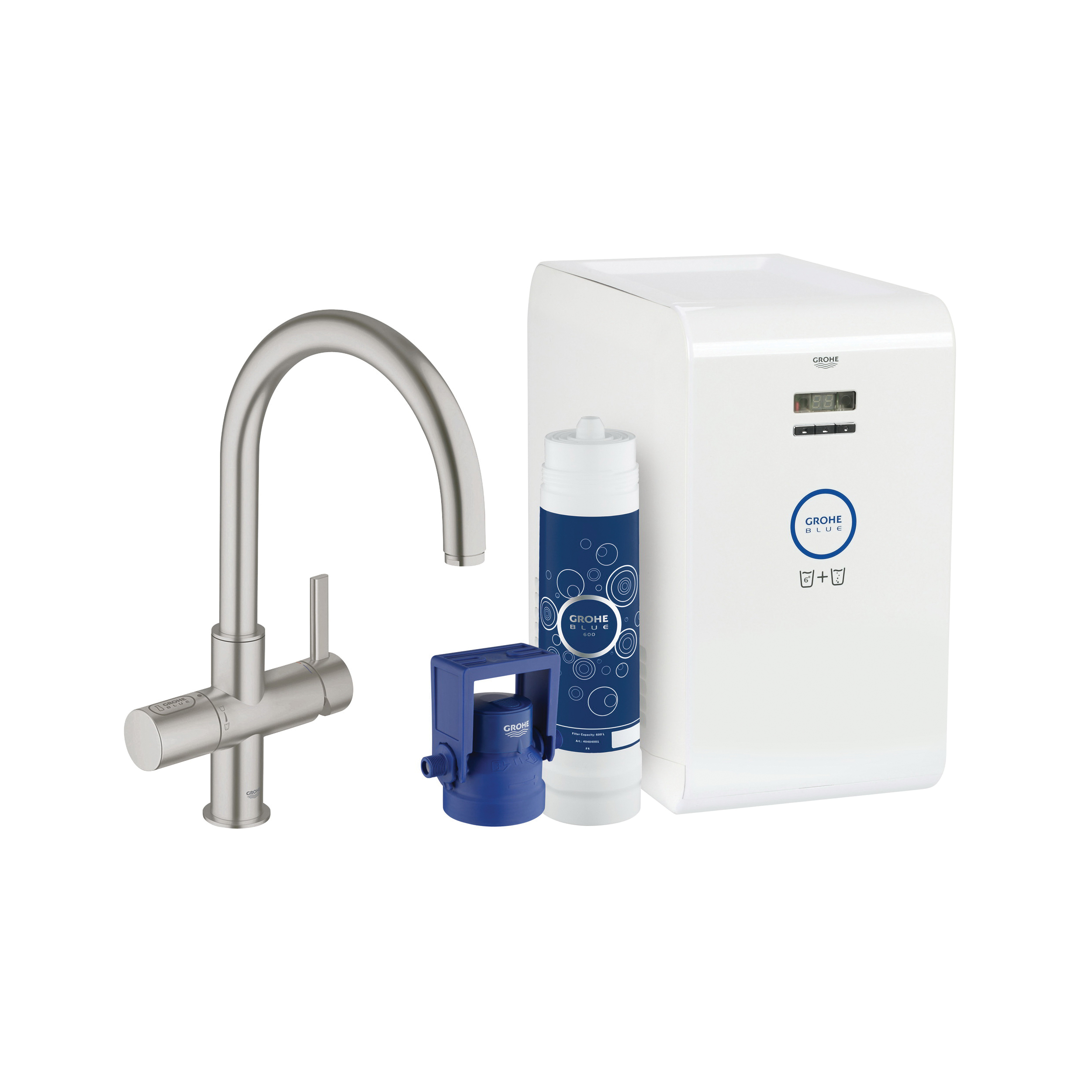 GROHE 31251DC1 GROHE Blue Sparkling Faucet and Water System, 1.75 gpm, 1 Handle, SuperSteel, Import, Residential