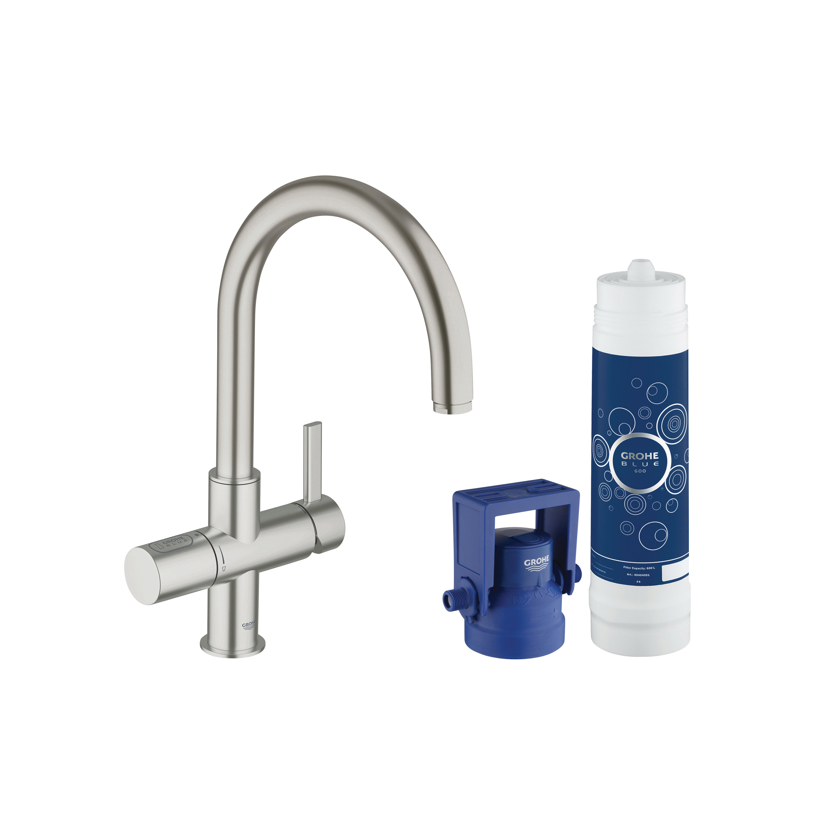 GROHE 31312DC1 GROHE Blue Pure Faucet and Water System, 1.75 gpm, 1 Handle, SuperSteel, Import, Residential