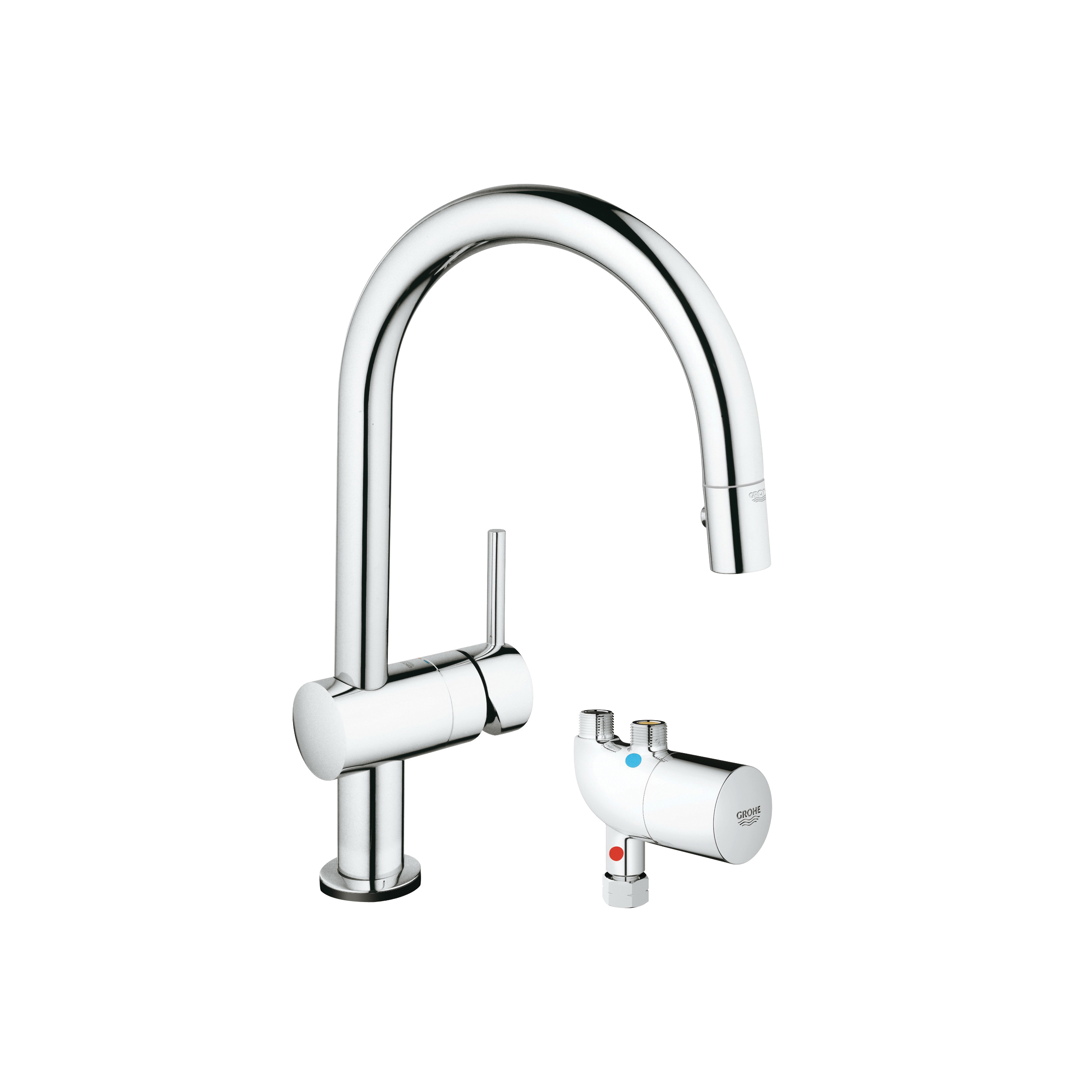 GROHE 31392000 Minta Pull-Down Kitchen Faucet With Grohtherm Micro, 1.75 gpm, StarLight® Chrome, 1 Handle, Import