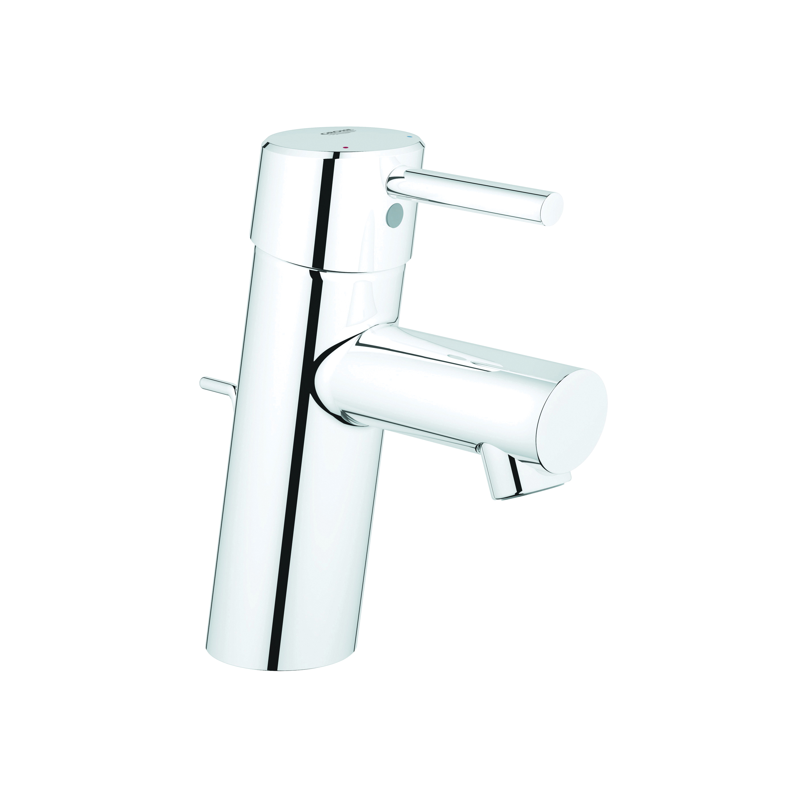 GROHE 3427000A Concetto Small Centerset Lavatory Faucet With Temperature Limiter, C gpm, 2-9/16 in H Spout, 1 Handle, Pop-Up Drain, 1 Faucet Hole, StarLight® Chrome, Import