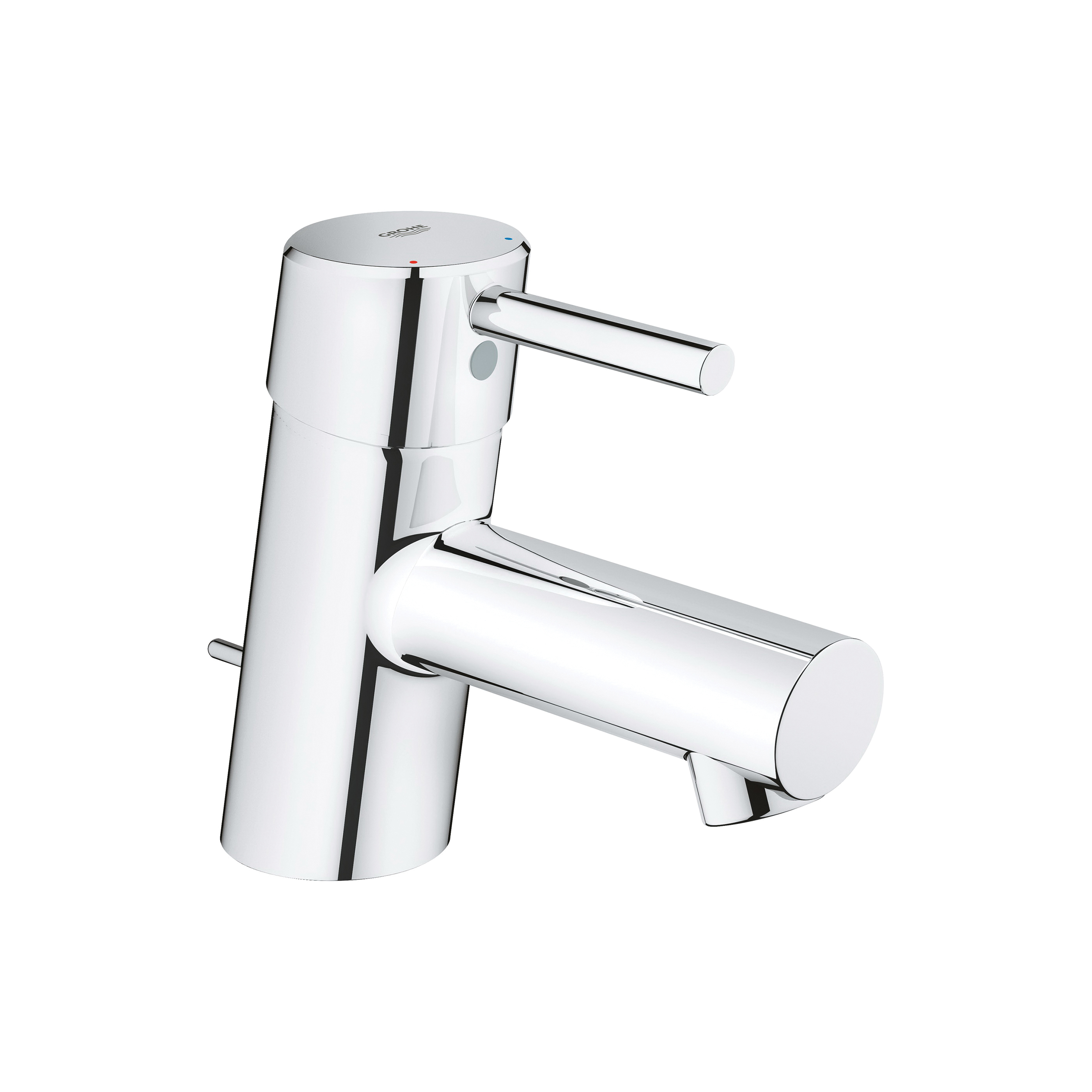 GROHE 34702001 Concetto Bathroom Basin Mixer, 2.2 gpm, 1-3/8 in H Spout, 1 Handle, Pop-Up Drain, 1 Faucet Hole, StarLight® Chrome, Import