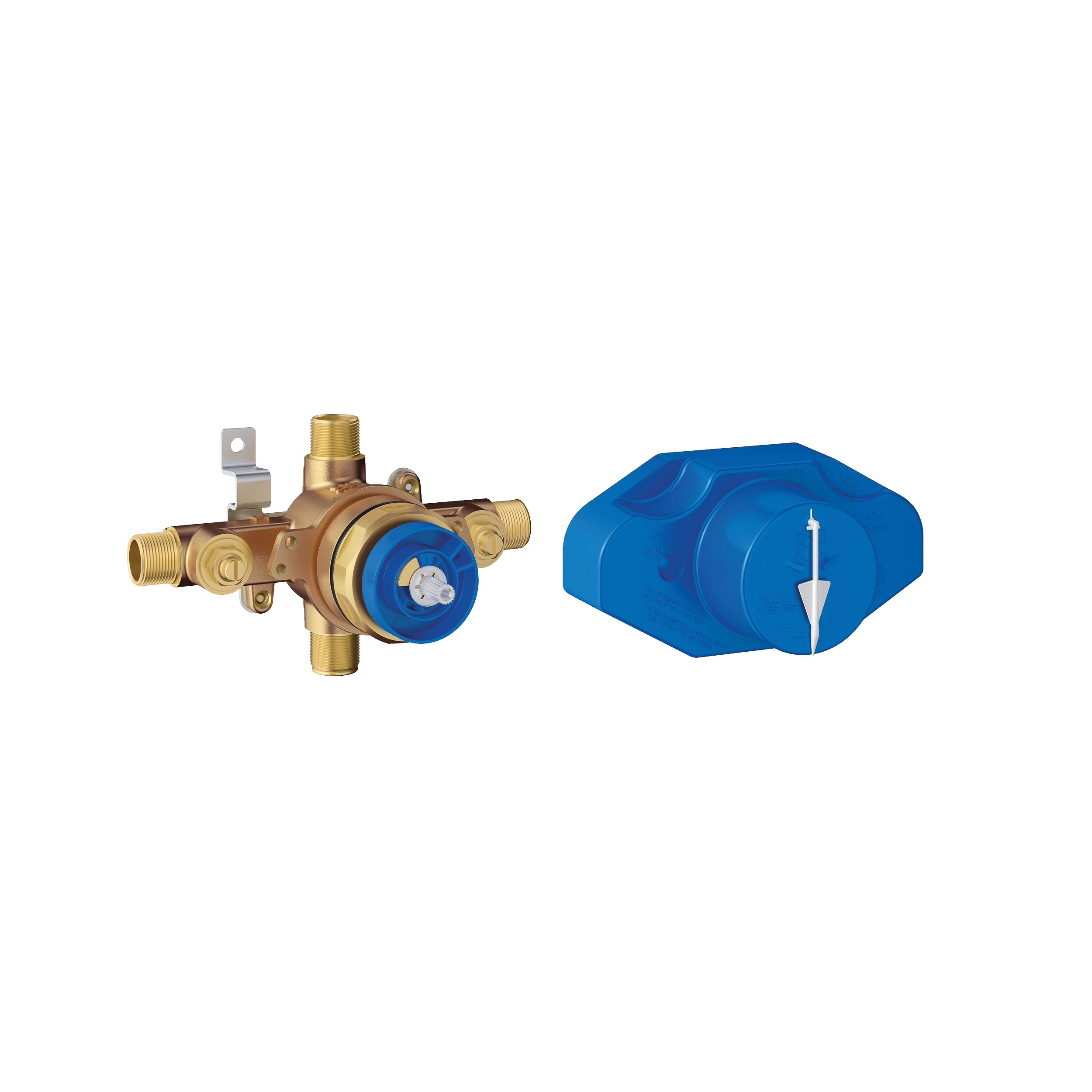 GROHE 35015001 Grohsafe™ Universal Rough-In Valve, 1/2 in C/MNPT Inlet x 1/2 in C/MNPT Outlet, Brass Body, Import