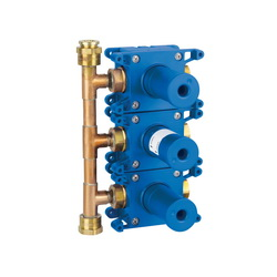 GROHE 35032000 Rapido C Triple Volume Control Rough-In Valve, 1/2 in FNPT Inlet x 1/2 in FNPT Outlet, Brass Body, Import