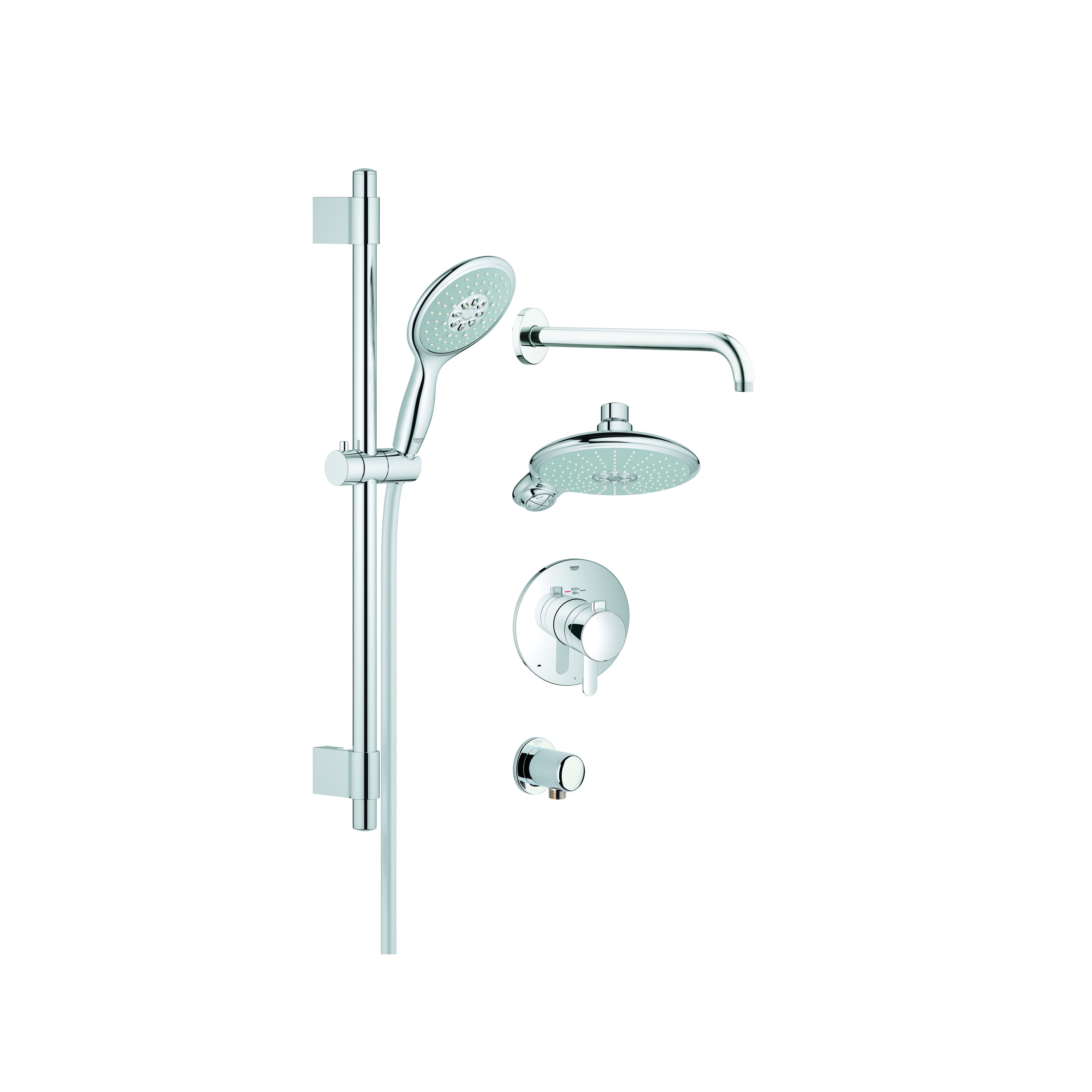 GROHE 35052000 GrohFlex™ Thermostatic Valve Shower Set, 7-1/2 in Dia Head, Multi-Function Water Jet Shower Head, 2.5 gpm, 69 in L Hose, StarLight® Chrome, Import