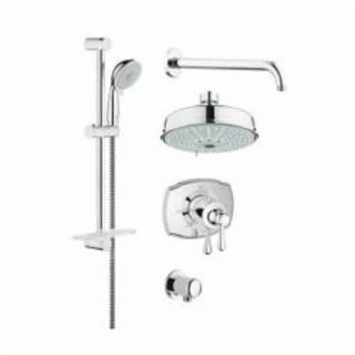 GROHE 35054000 GrohFlex™ Shower Set, (4) 6-9/16 in Dia Shower Head, 2.5 gpm, 59 in L Hose, 1/2 in MNPT, Slide Bar: No, Chrome Plated, Import