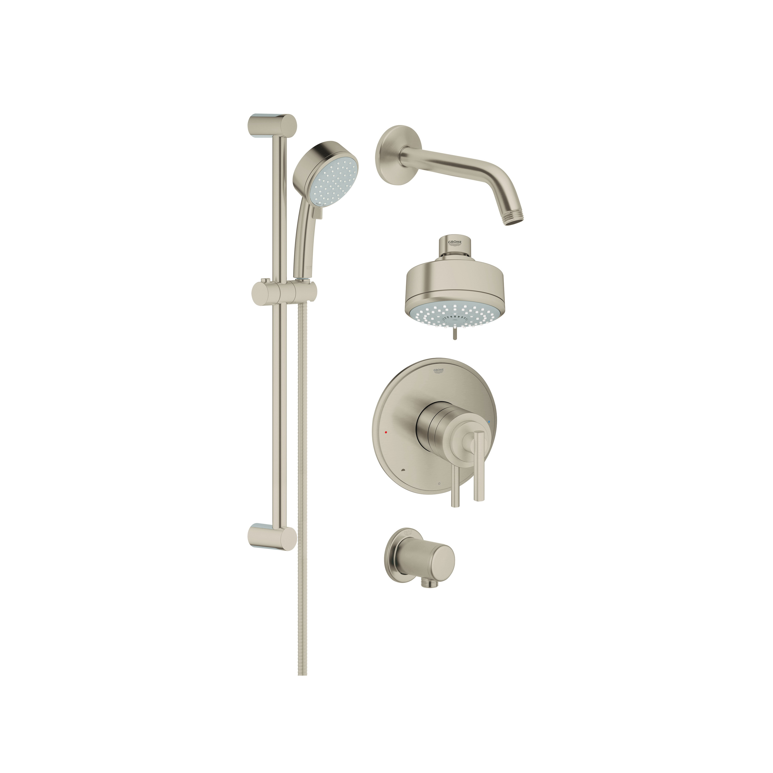 GROHE 35055EN0 GrohFlex™ Pressure Balance Valve Shower Set With DreamSpray Technology, Multi-Function Shower Head, 2 gpm, 69 in L Hose, StarLight® Chrome, Import