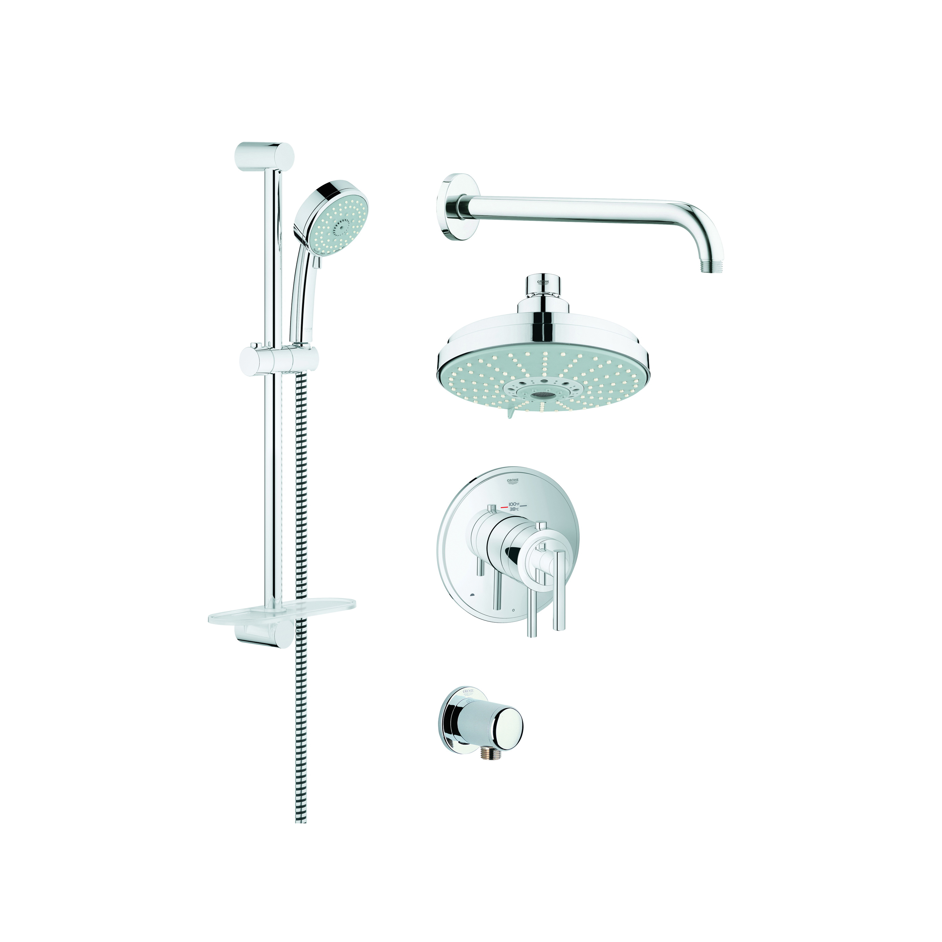 GROHE 35056000 GrohFlex™ Thermostatic Valve Shower Set, 2.5 gpm, 68-7/8 in L Hose, StarLight® Chrome, Import