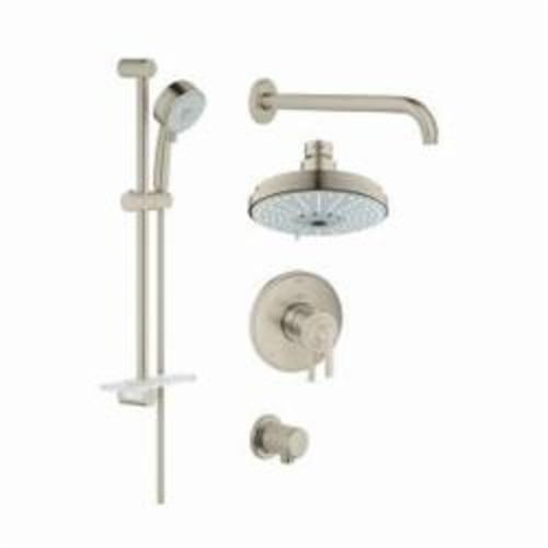 GROHE 35056EN0 GrohFlex™ Shower Set, (2) 6-3/8 in Dia Shower Head, 2.5 gpm, 69 in L Hose, MNPT, Slide Bar: No, Chrome Plated, Import