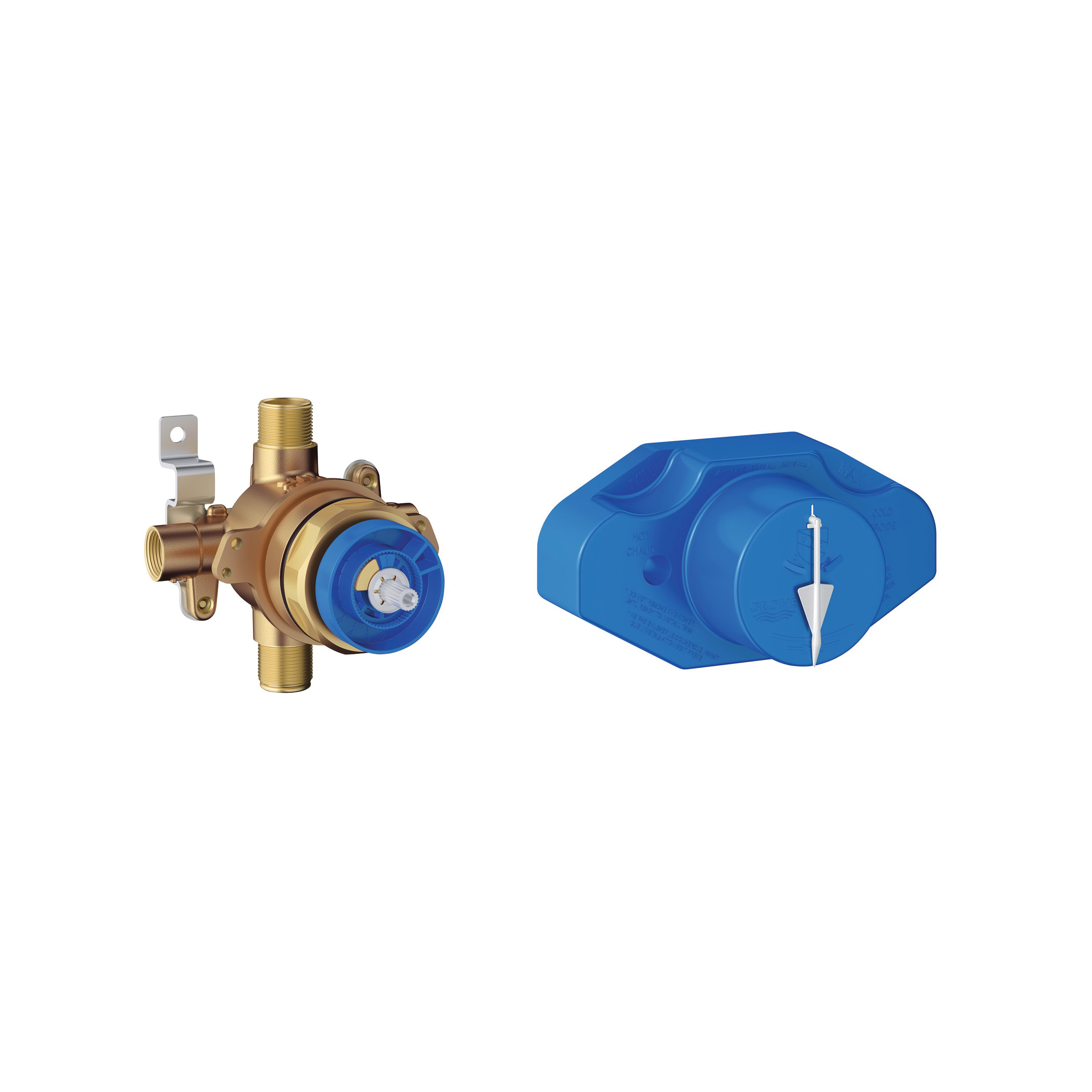 GROHE 35066001 Grohsafe™ Universal Rough-In valve, 1/2 in C Inlet x 1/2 in C/MNPT Outlet, Brass Body, Import
