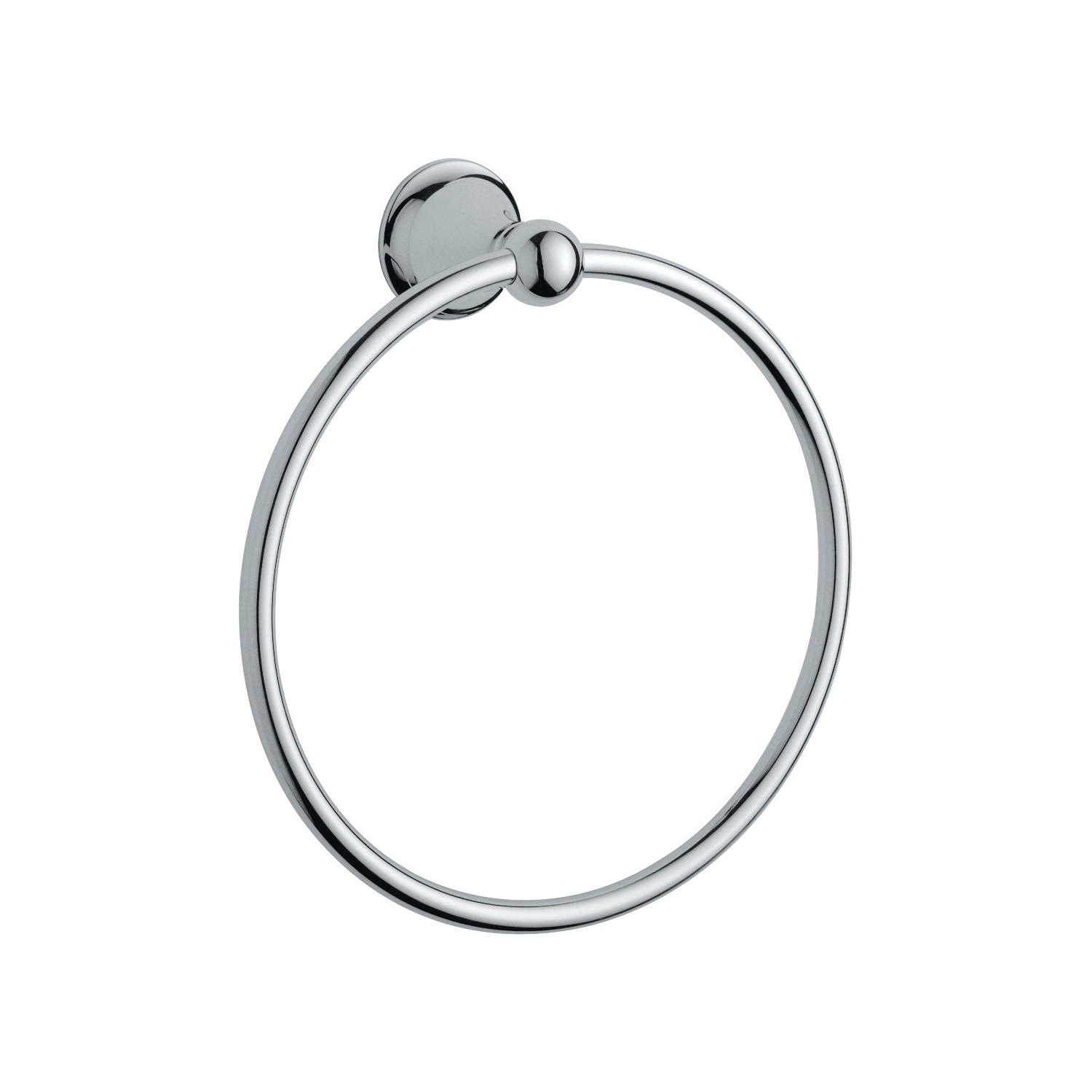 GROHE 40158000 Seabury Towel Ring, 7-7/8 in Dia Ring, 2-11/16 in OAD, Metal, Import