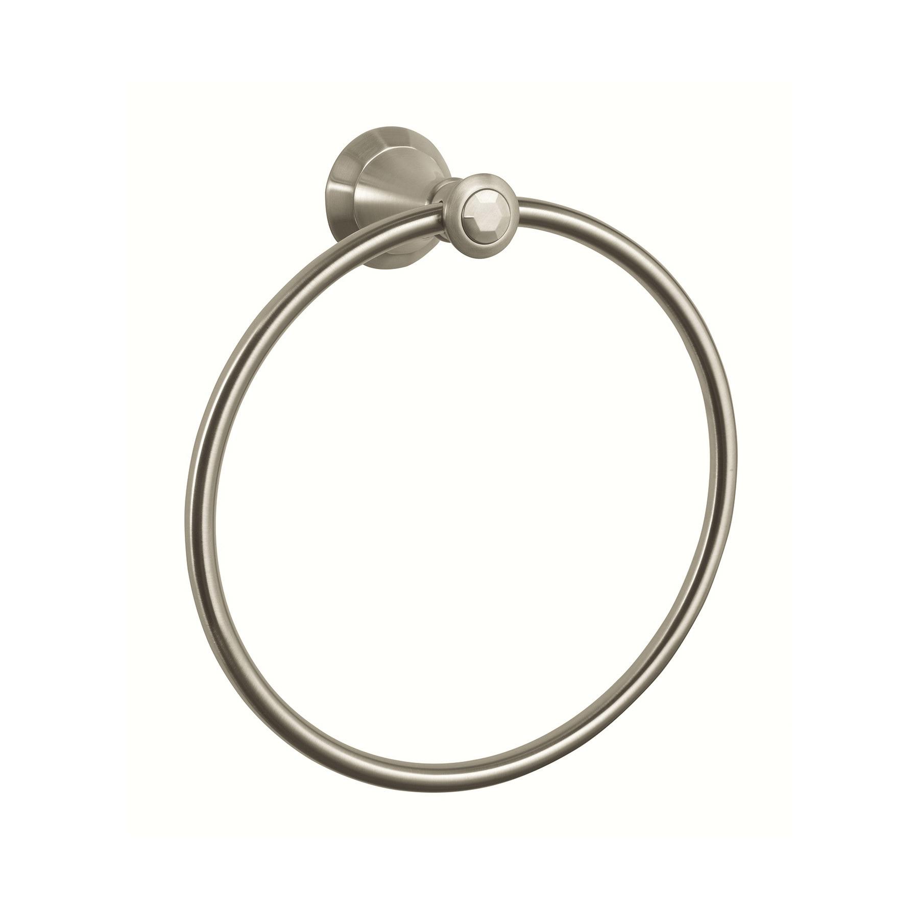 GROHE 40222EN0 Kensington Towel Ring, 7-7/8 in Dia Ring, 2-3/4 in OAD x 8-5/8 in OAH, Metal, Import