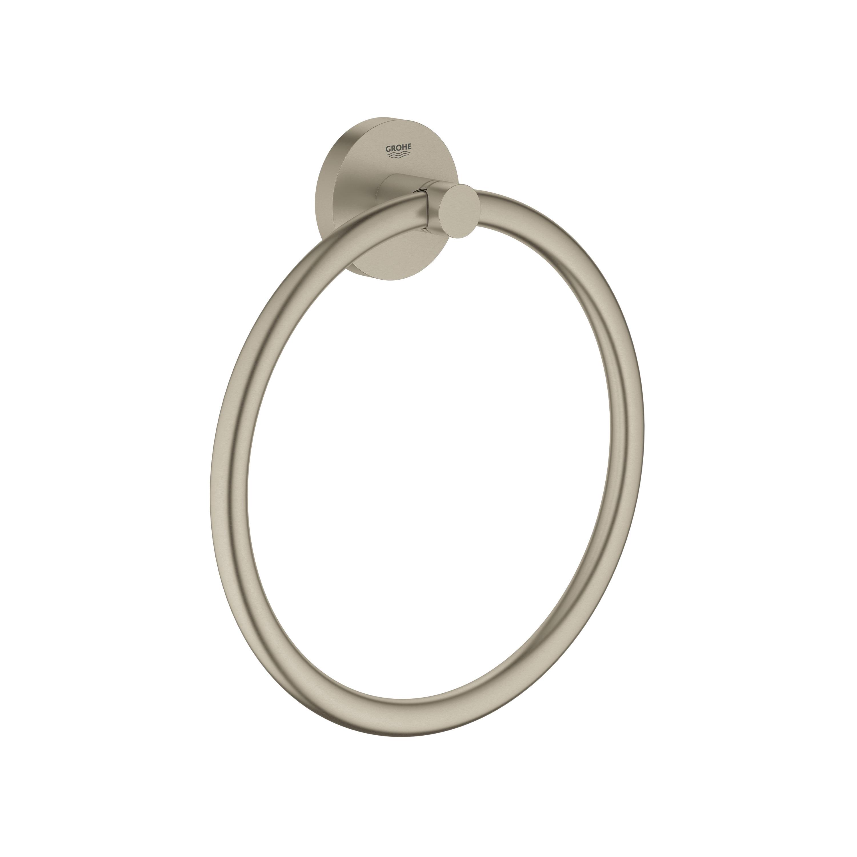 GROHE 40365EN1 Essential™ Towel Ring, 7-1/16 in Dia Ring, 1-3/4 in OAD x 7-7/8 in OAH, Metal, Import