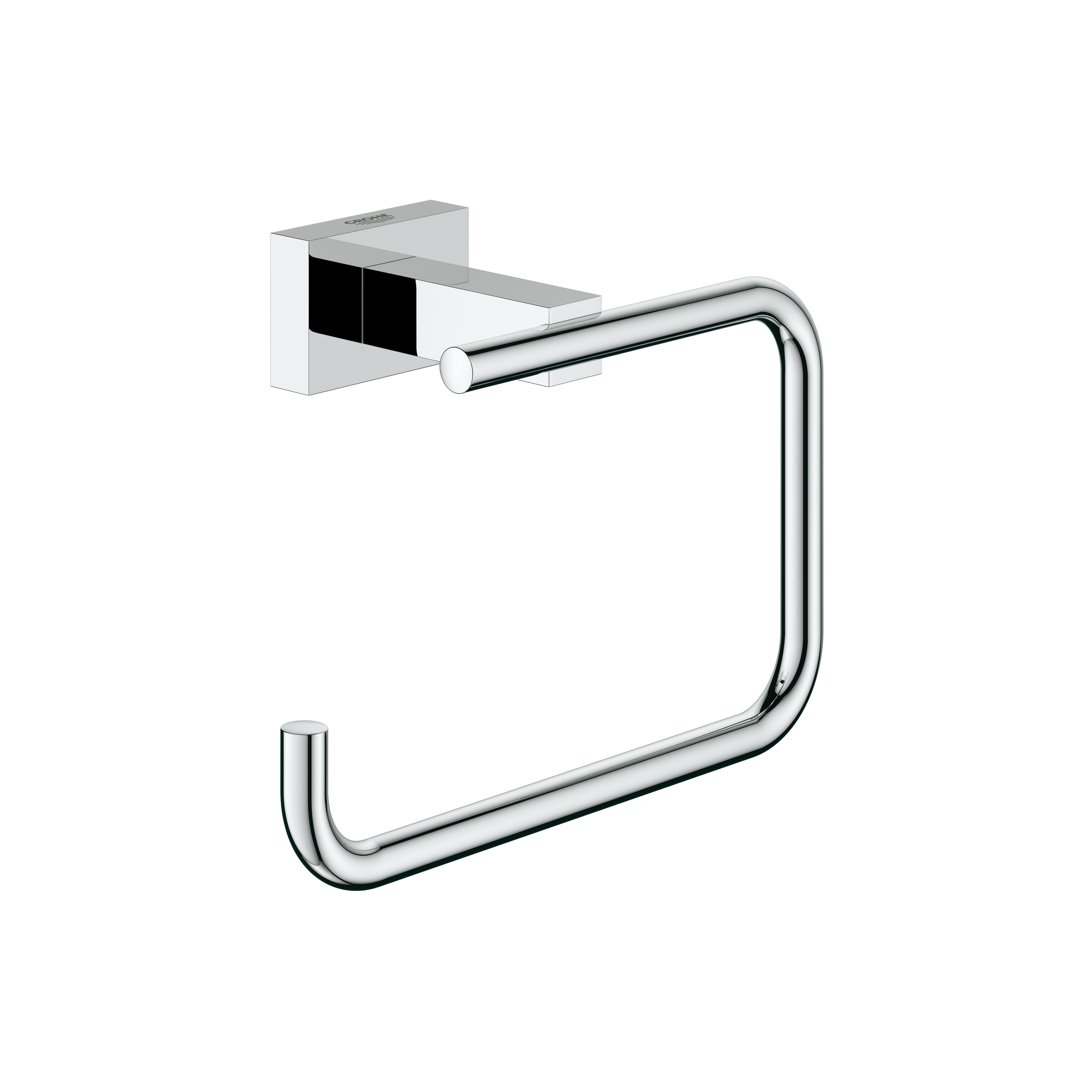 GROHE 40507001 Essentials Cube Toilet Paper Holder Without Cover, 3-7/8 in H, Brass, StarLight® Chrome Plated, Import