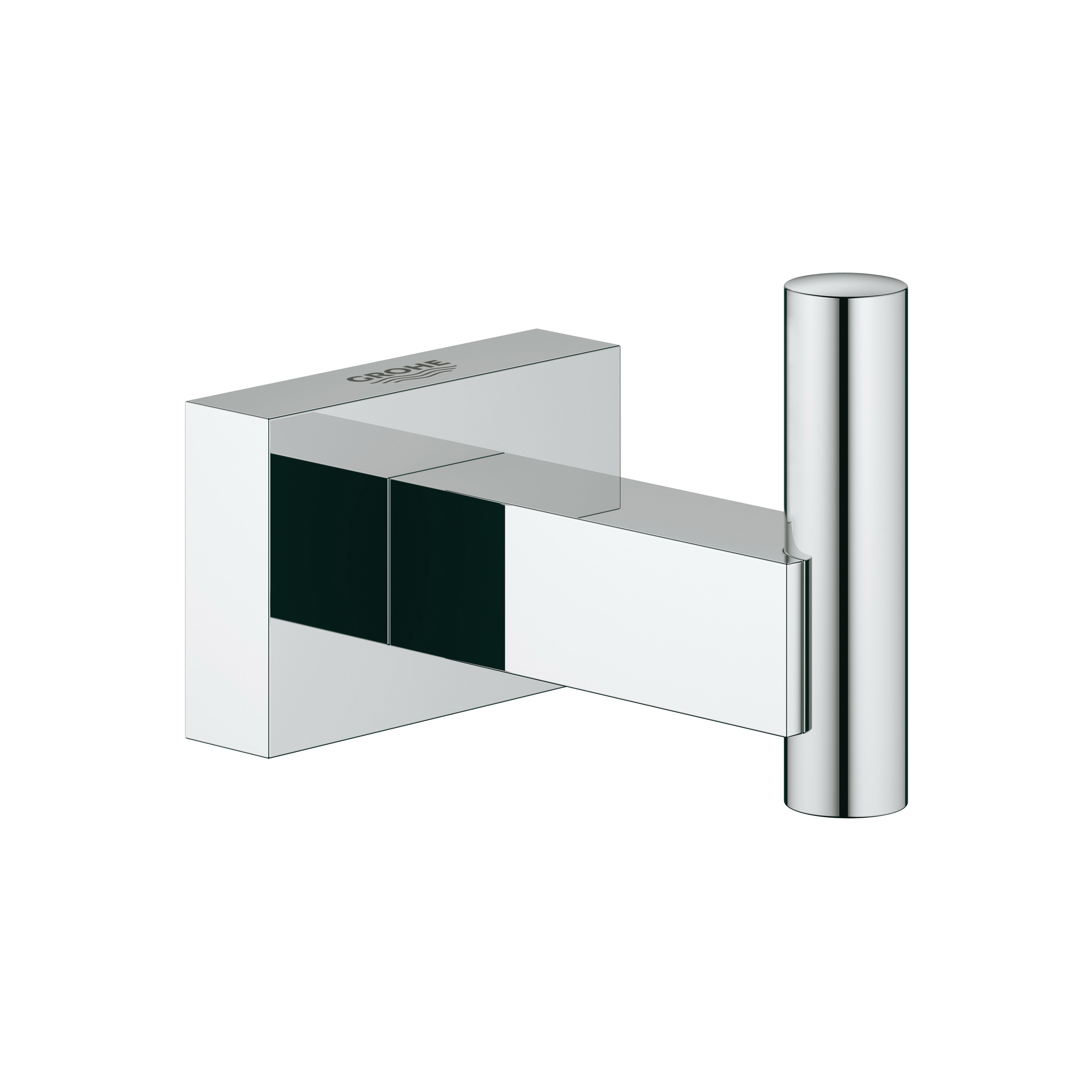GROHE 40511001 Essentials Cube Robe Hook, 1 Hook, 2-11/16 in OAD x 1-15/16 in OAH, Metal, Import